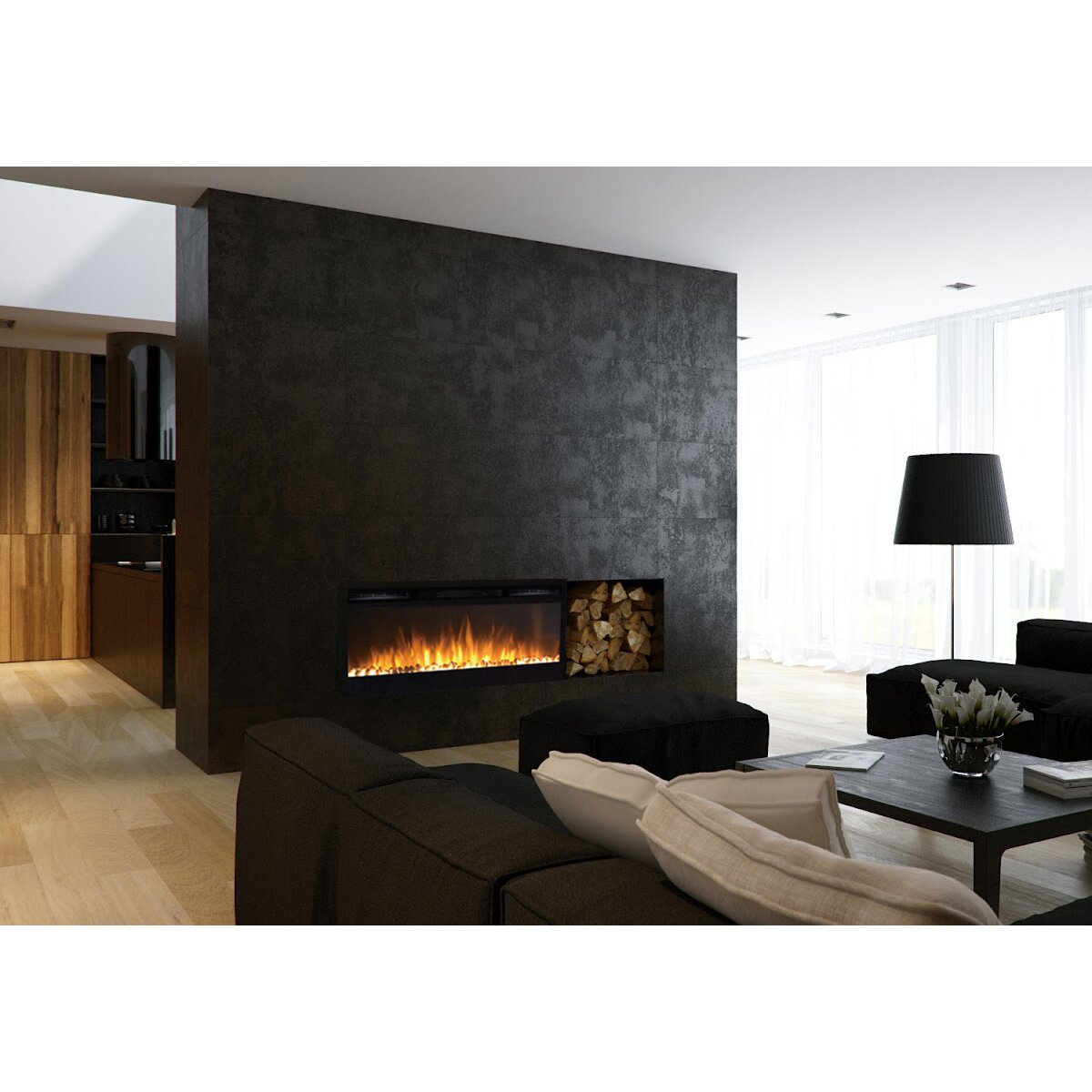 Moda Flame Cynergy Pebble Stone Built In Wall Mount