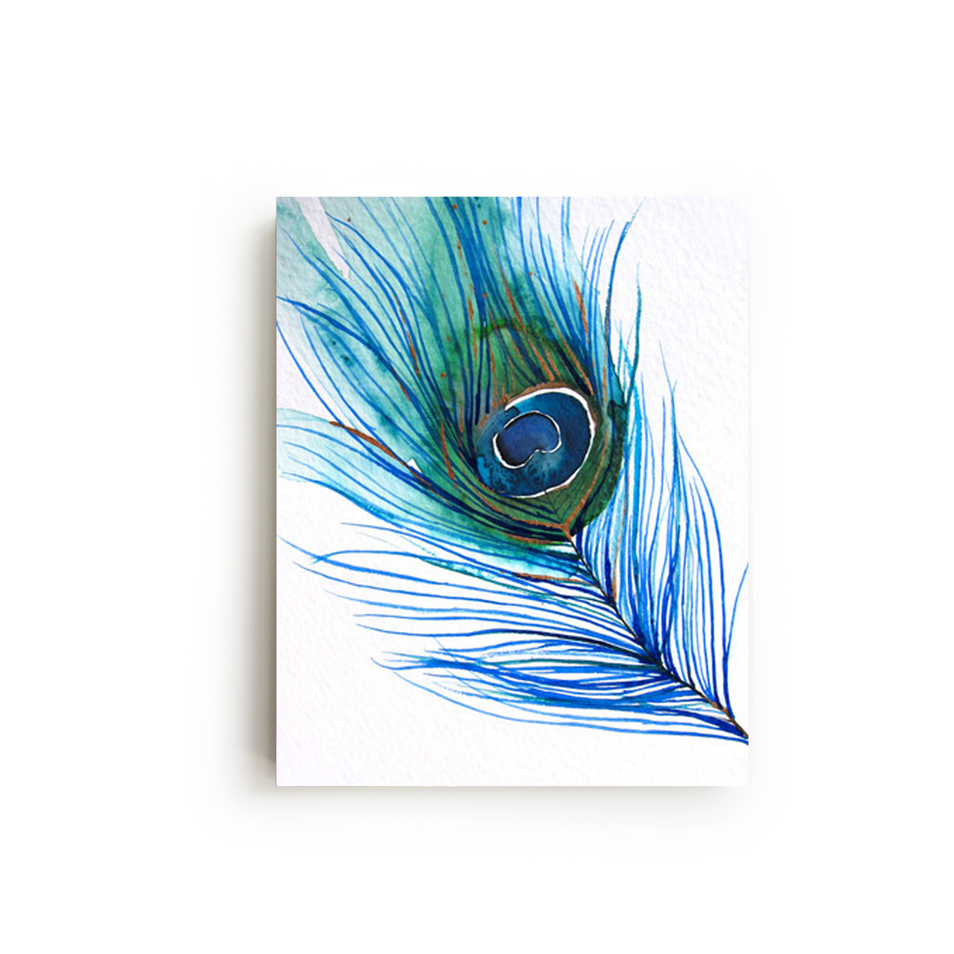 Mai autumn peacock feather by christine lindstrom painting for Painting feathers on canvas