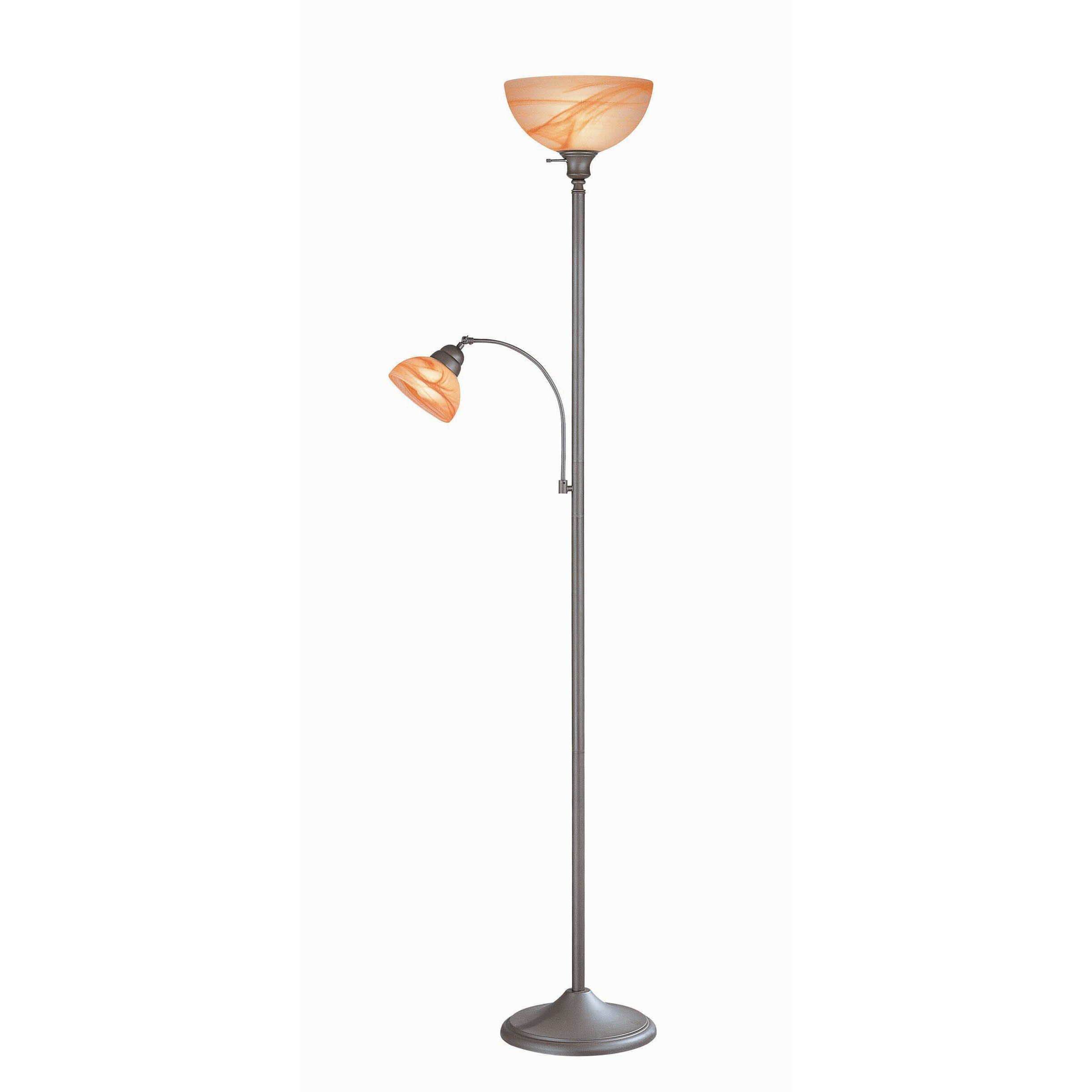 Lite source marblesk rust reading 73quot torchiere floor lamp for Rustic floor reading lamp
