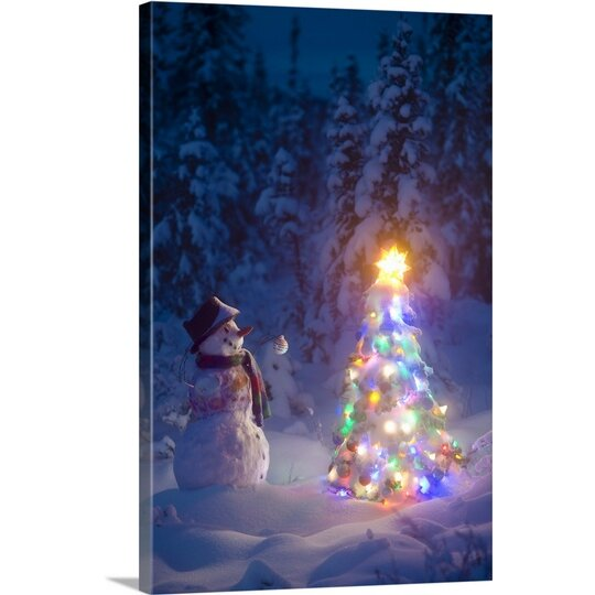 Great Big Canvas Christmas Art Snowman In Spruce Forest By