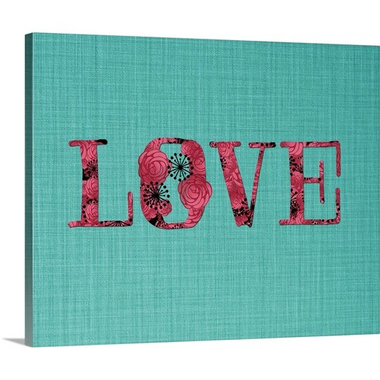 Great Big Canvas 39 Love Pink And Turquoise 39 By Amy Cummings