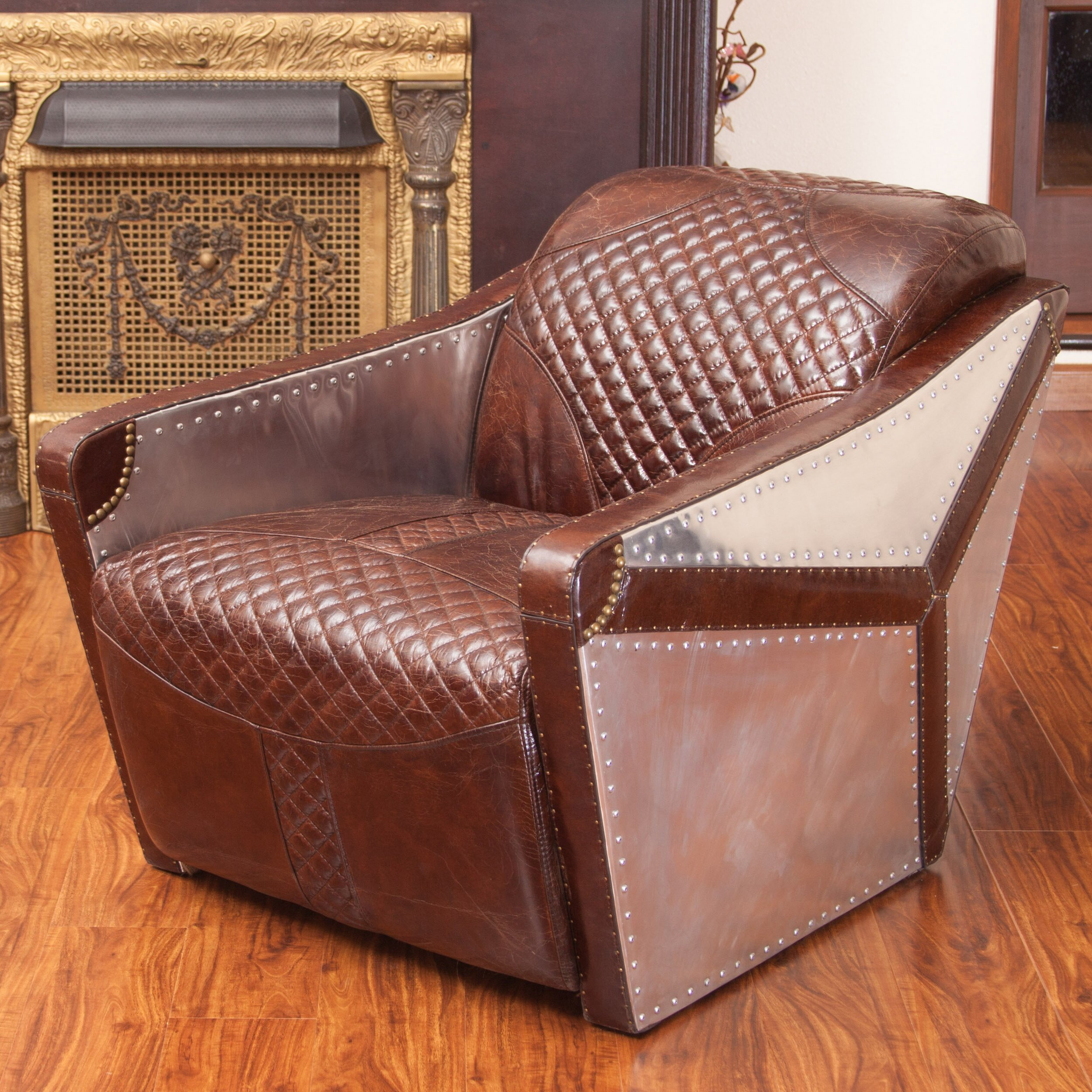 home loft concepts moore leather and metal club chair reviews wayfair. Black Bedroom Furniture Sets. Home Design Ideas