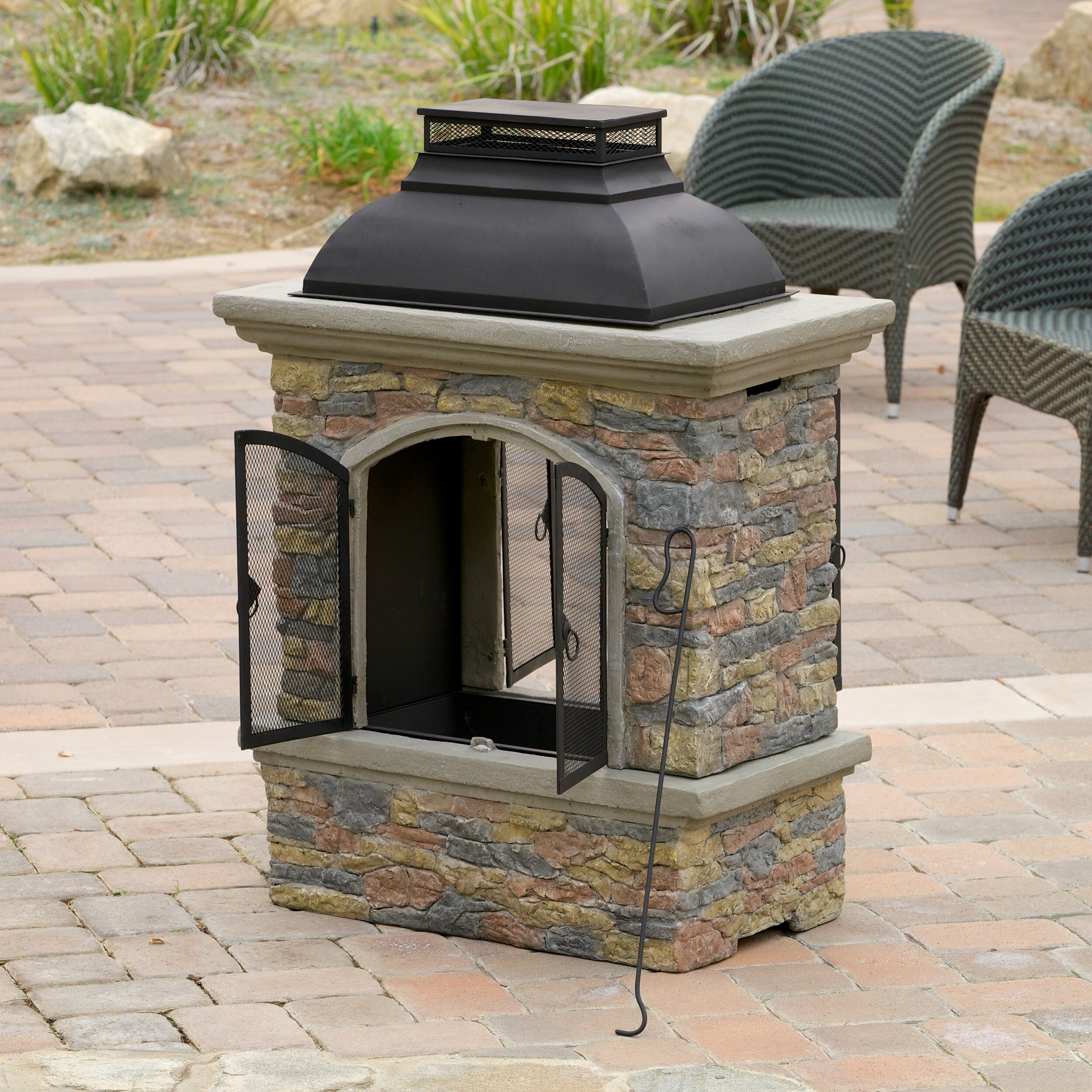Fresno Outdoor Natural Stone Chiminea Fireplace