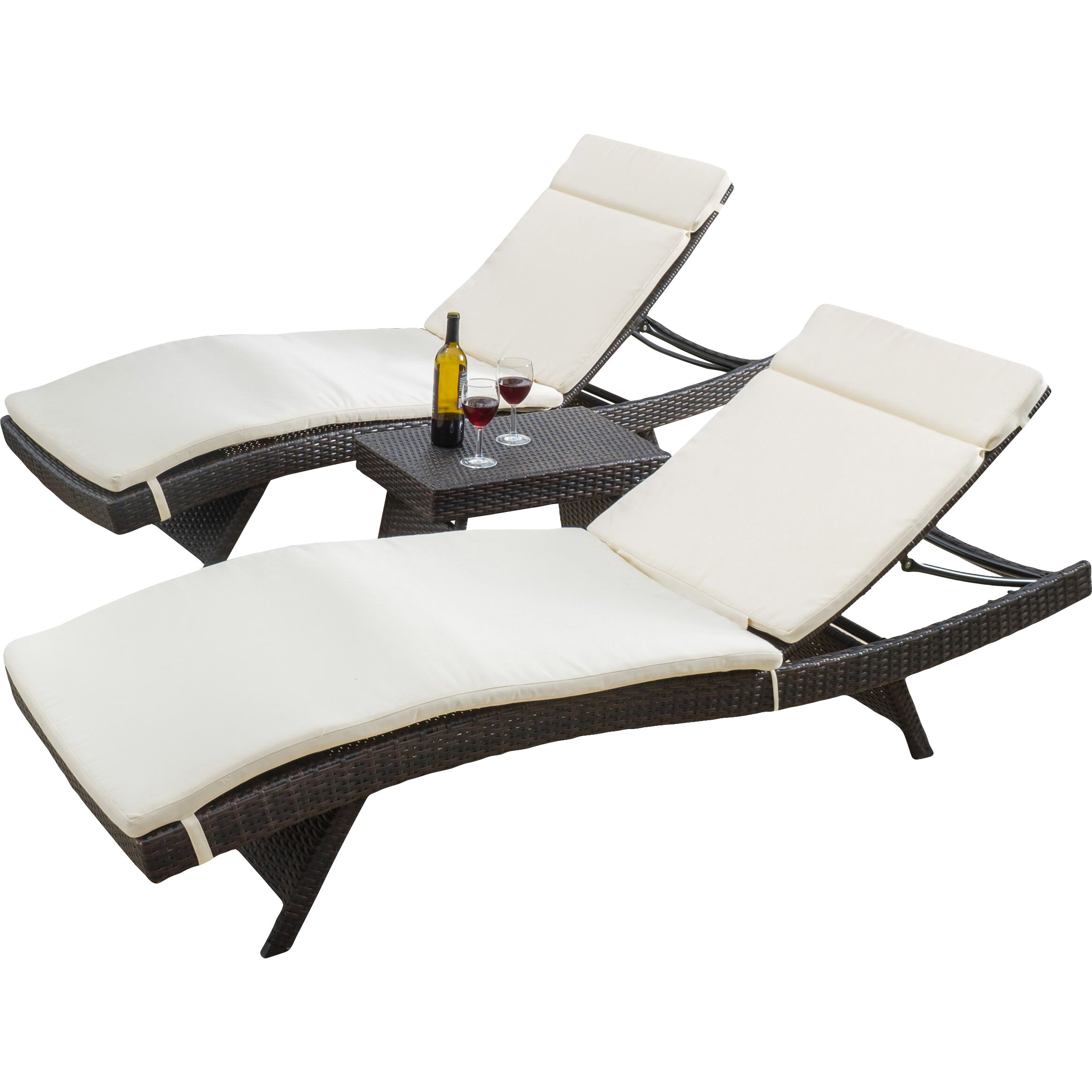 Home Loft Concepts Rio Vista 3 Piece Chaise Lounge Set with Cushion & Reviews