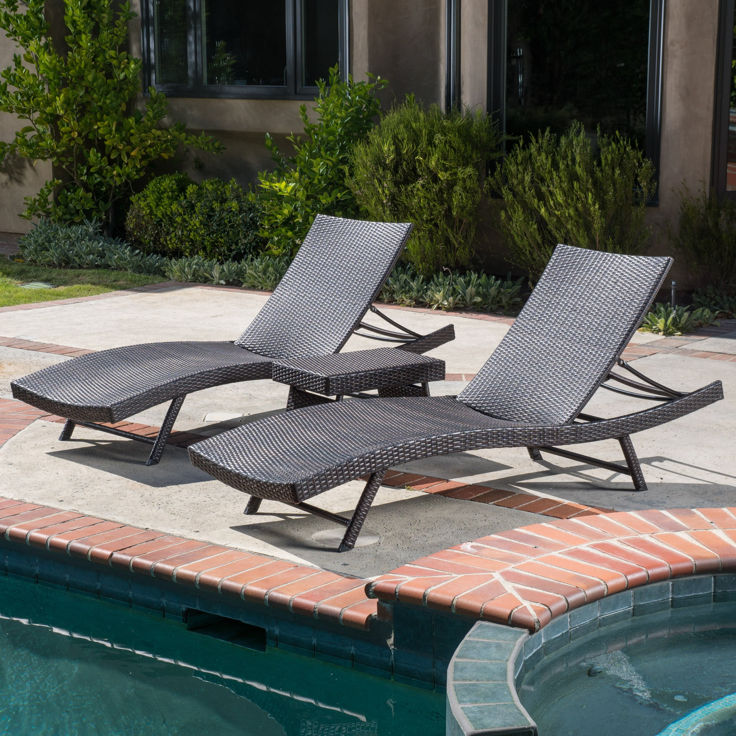 Home loft concepts halulu 3 piece chaise lounge set for Chaise 3 pieds