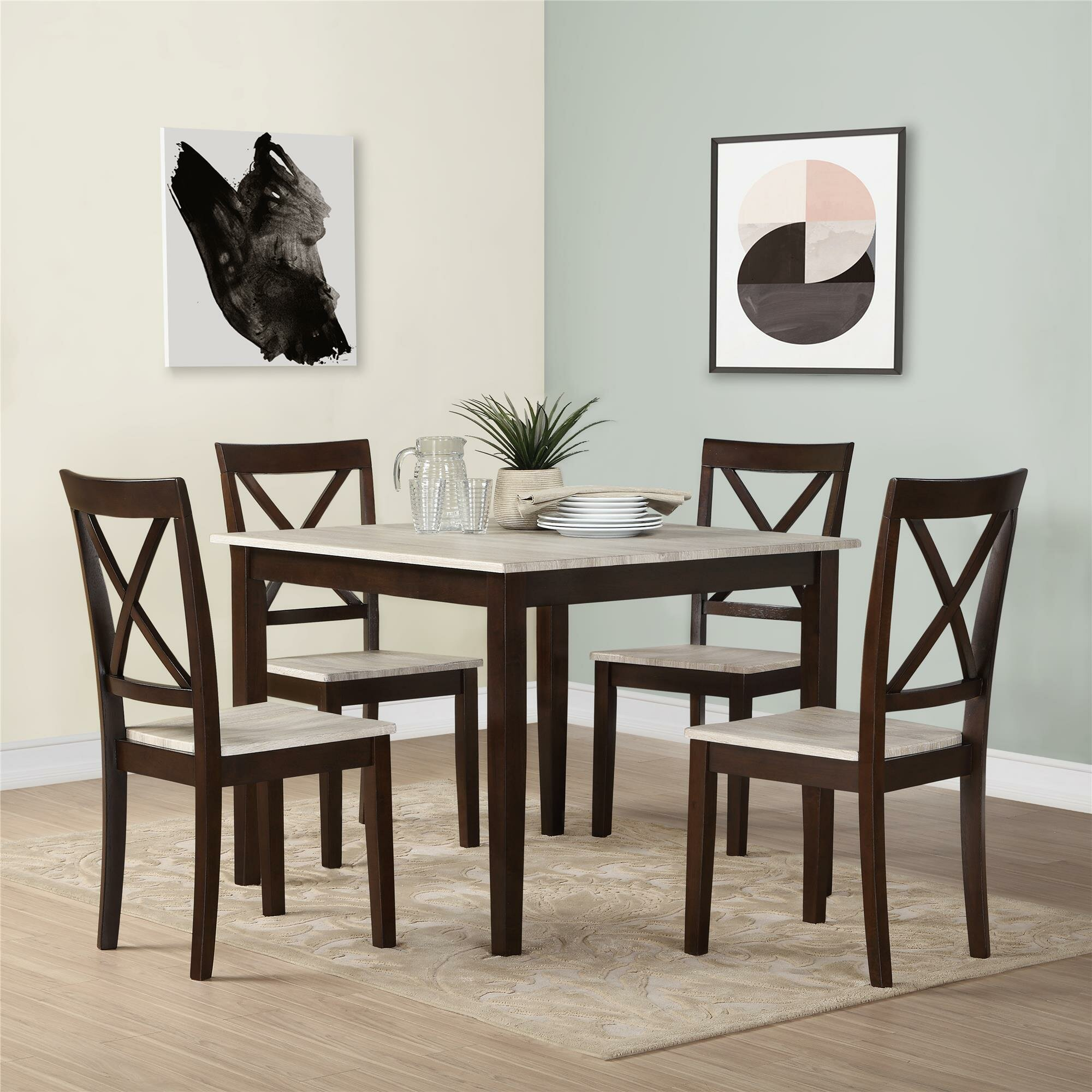 Andover mills tilley rustic 5 piece dining set reviews for 2 piece dining room set