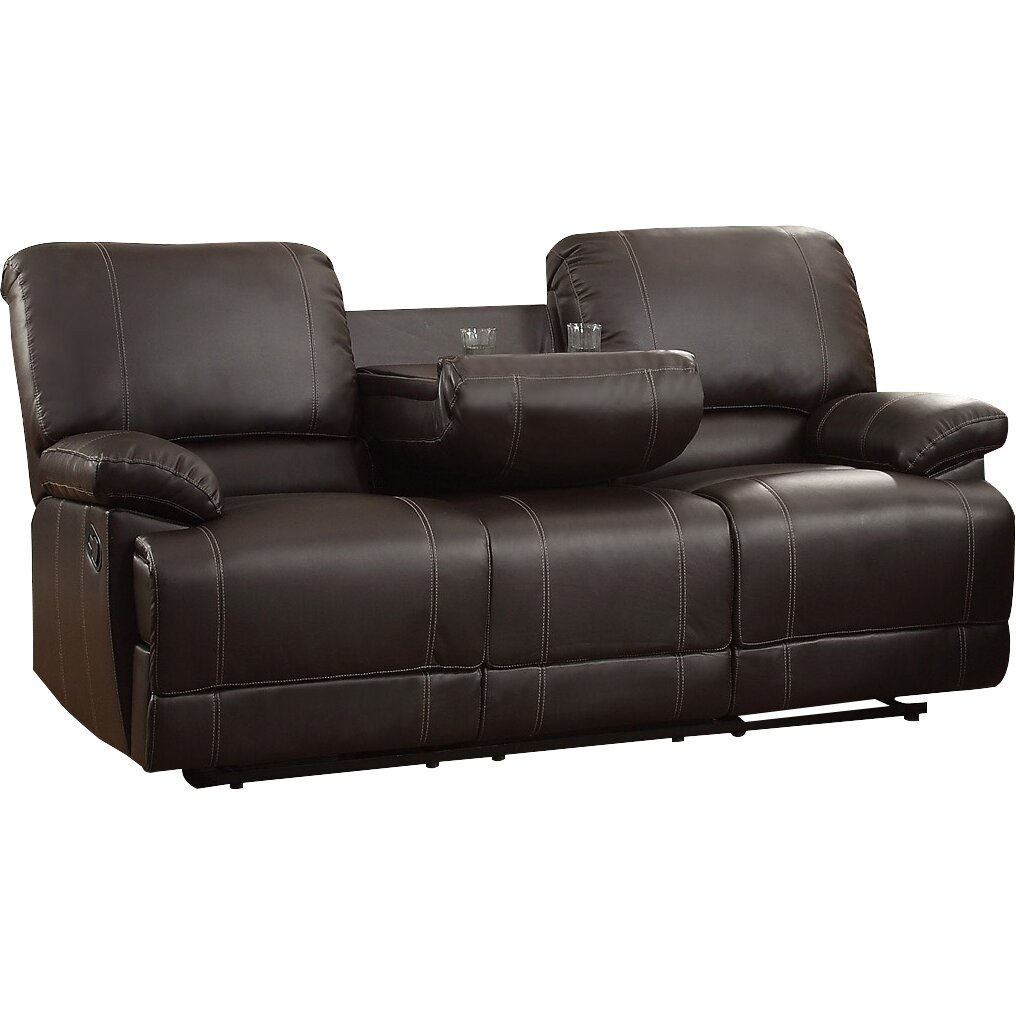 Andover mills edgar double reclining sofa reviews Reclining leather sofa and loveseat