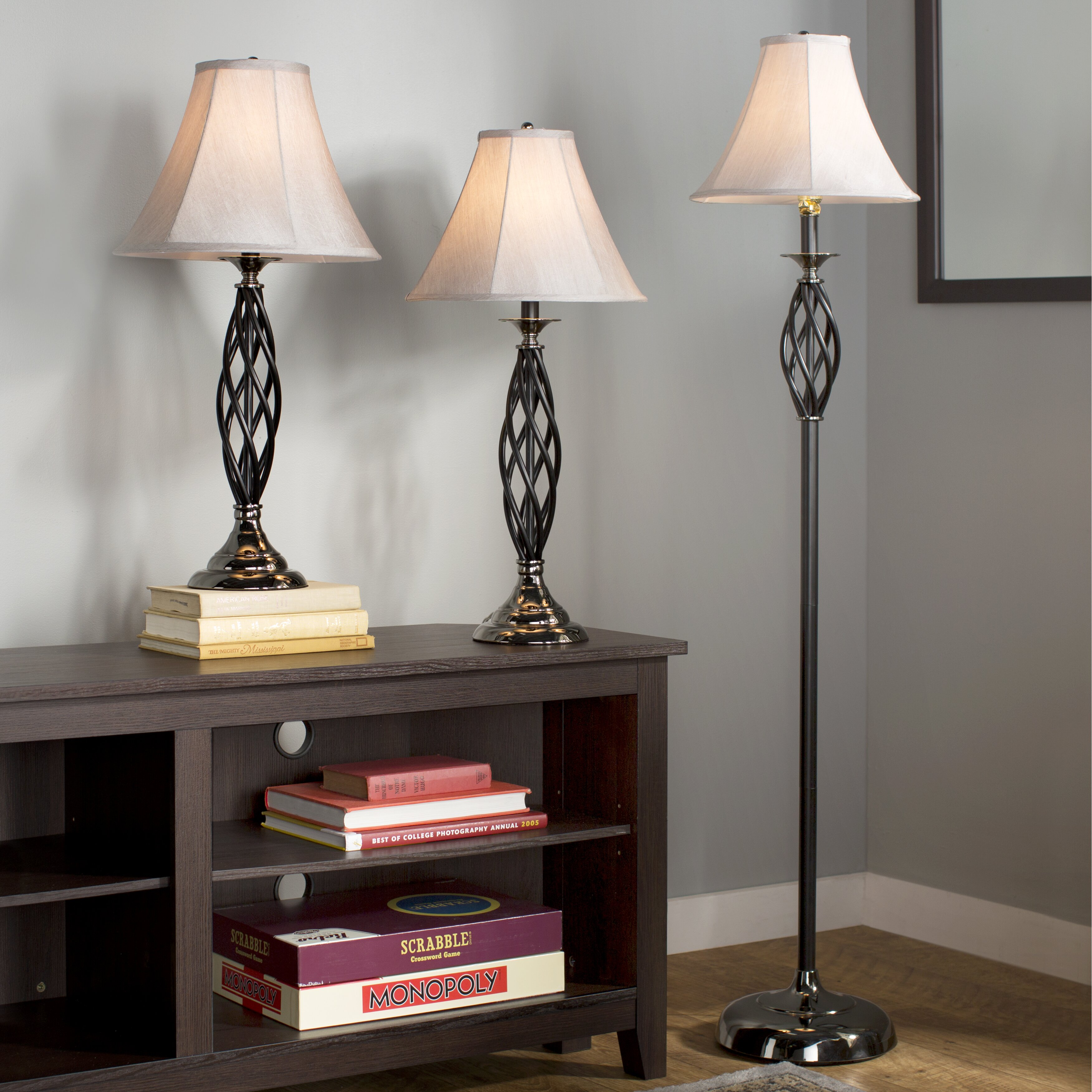 mills dunrobin 3 piece table and floor lamp set reviews wayfair. Black Bedroom Furniture Sets. Home Design Ideas