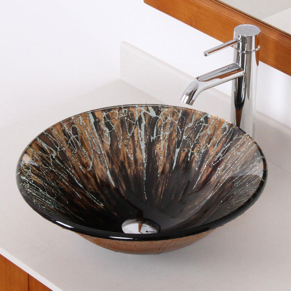 Elite Handcrafted Glass Fanfare Bowl Vessel Bathroom Sink