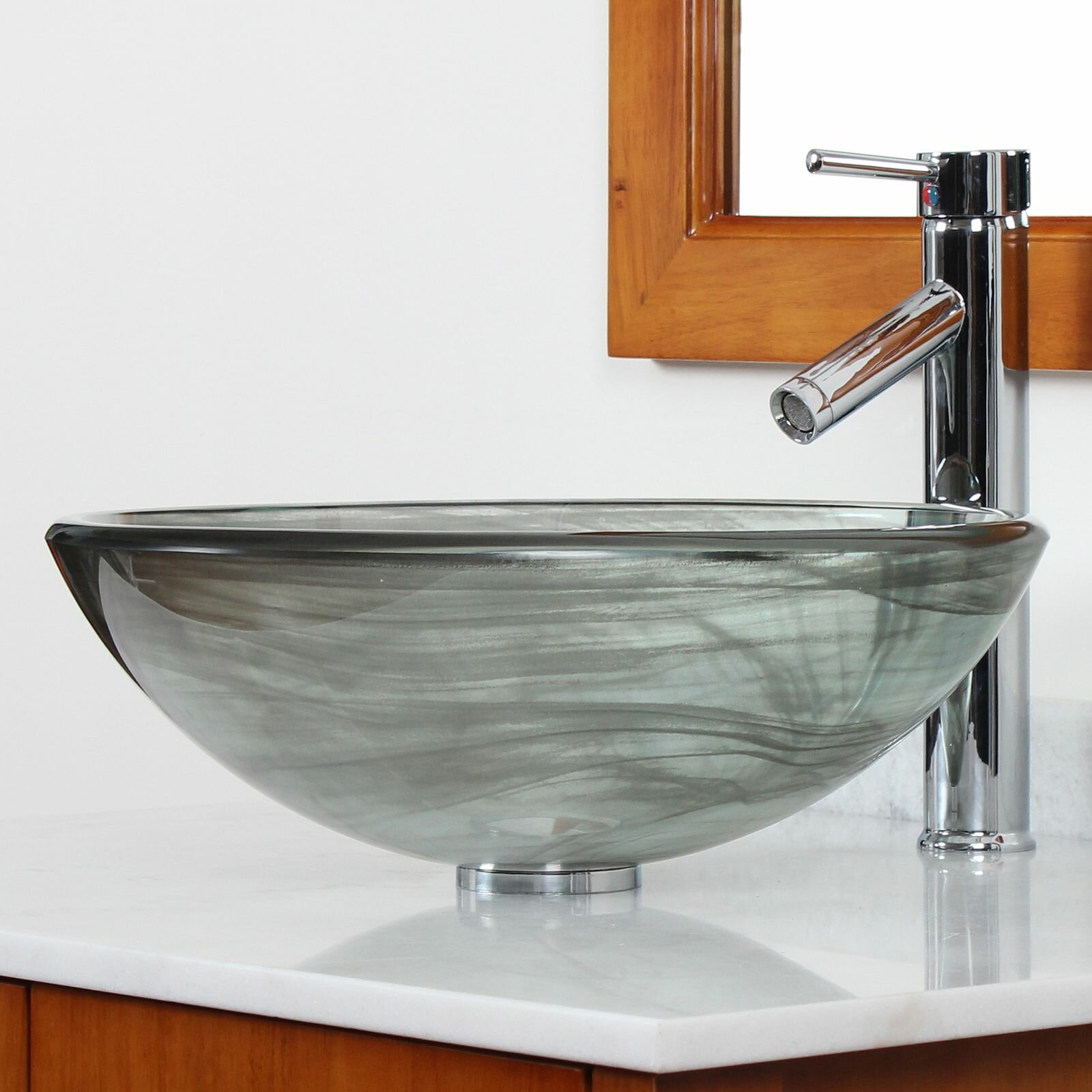 Elite double layered tempered glass bowl vessel bathroom - Bathroom tempered glass vessel sink ...