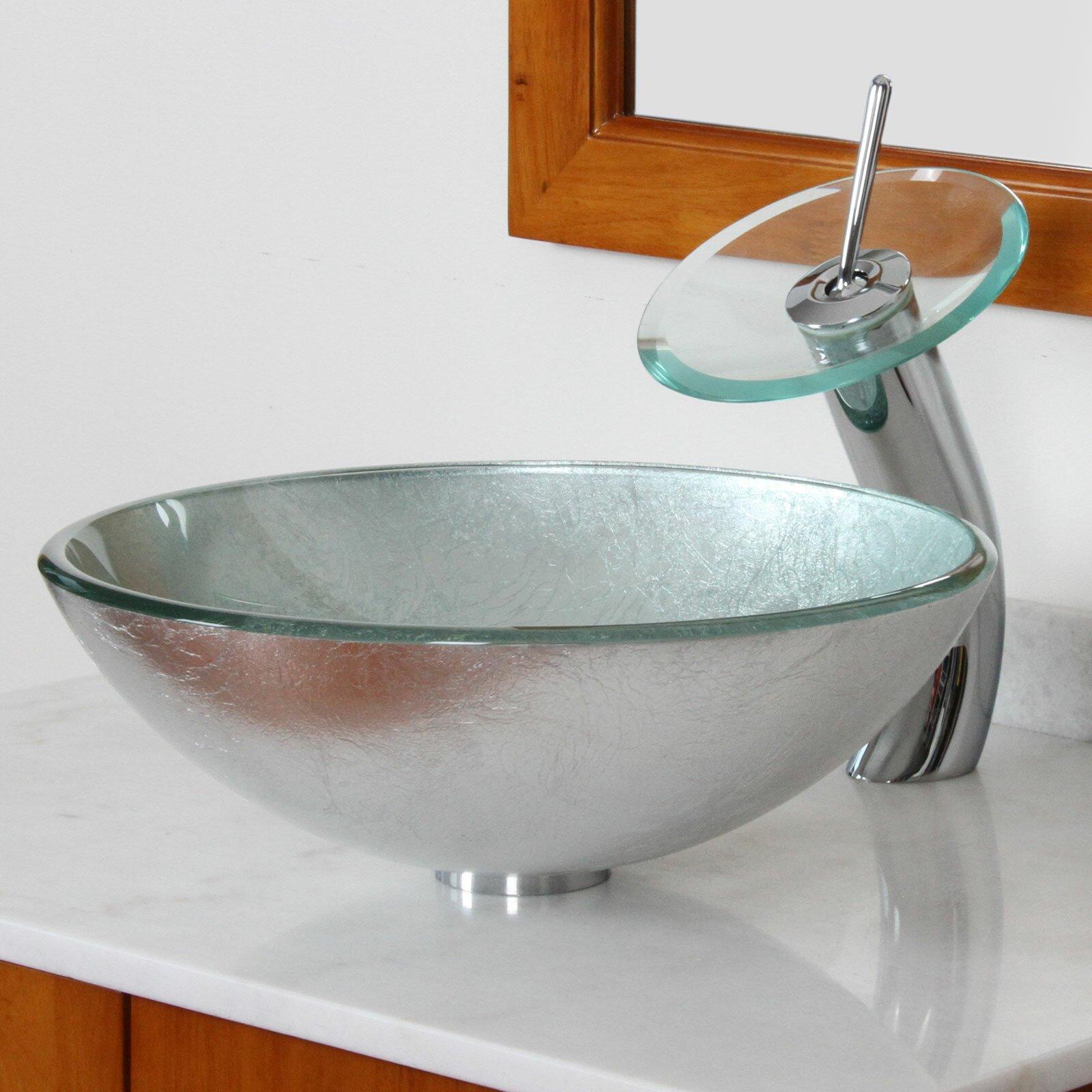 elite hand painted foil round bowl vessel bathroom sink reviews wayfair