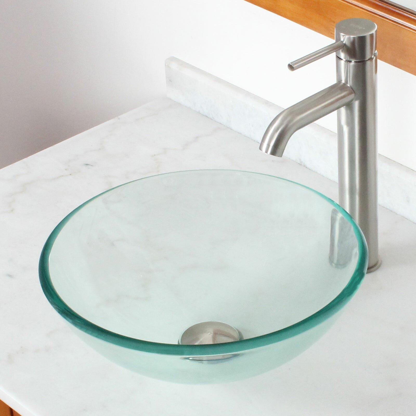 Elite tempered glass round bowl vessel bathroom sink wayfair - Bathroom tempered glass vessel sink ...