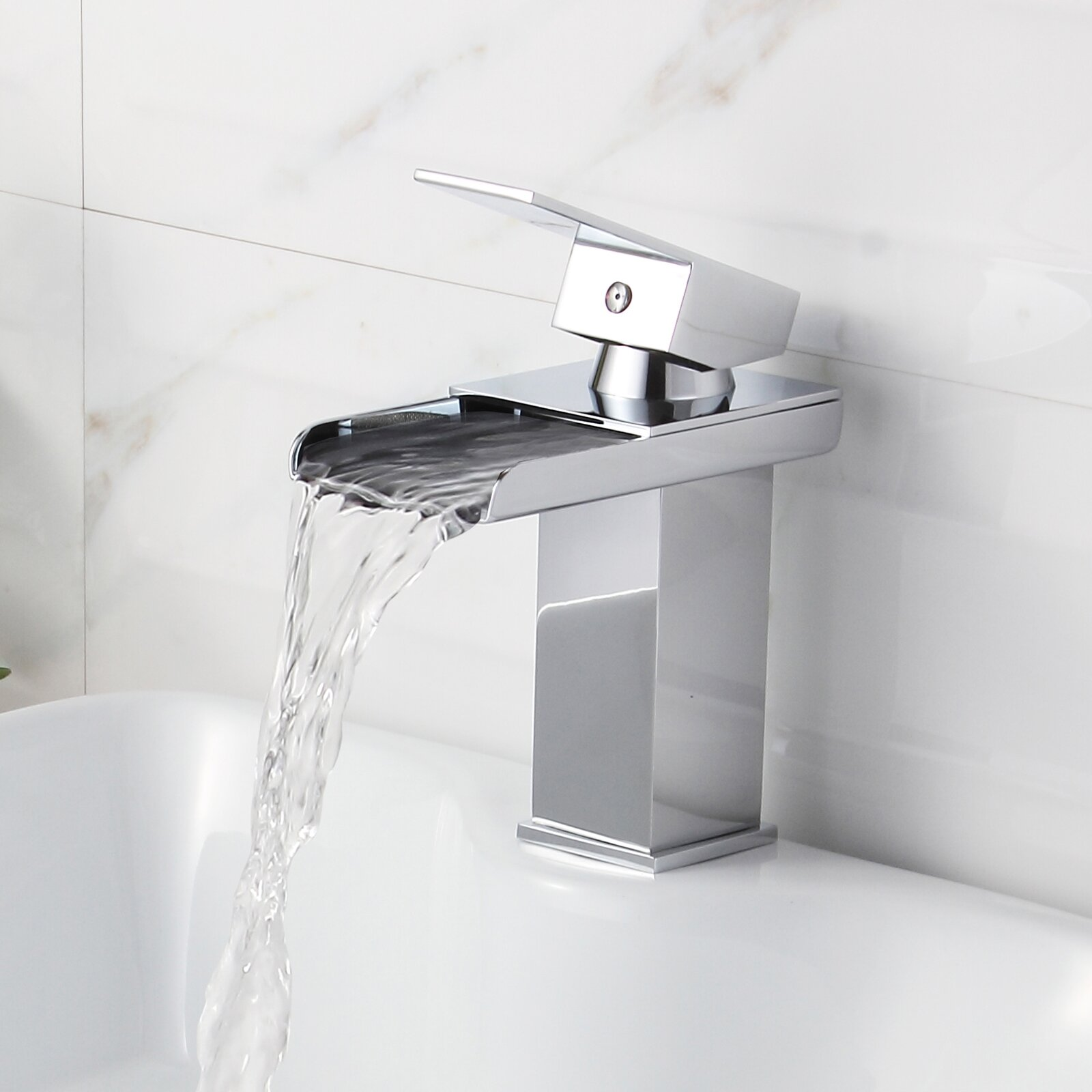 Elite single handle bathroom sink waterfall faucet for Bath sink faucets single handle