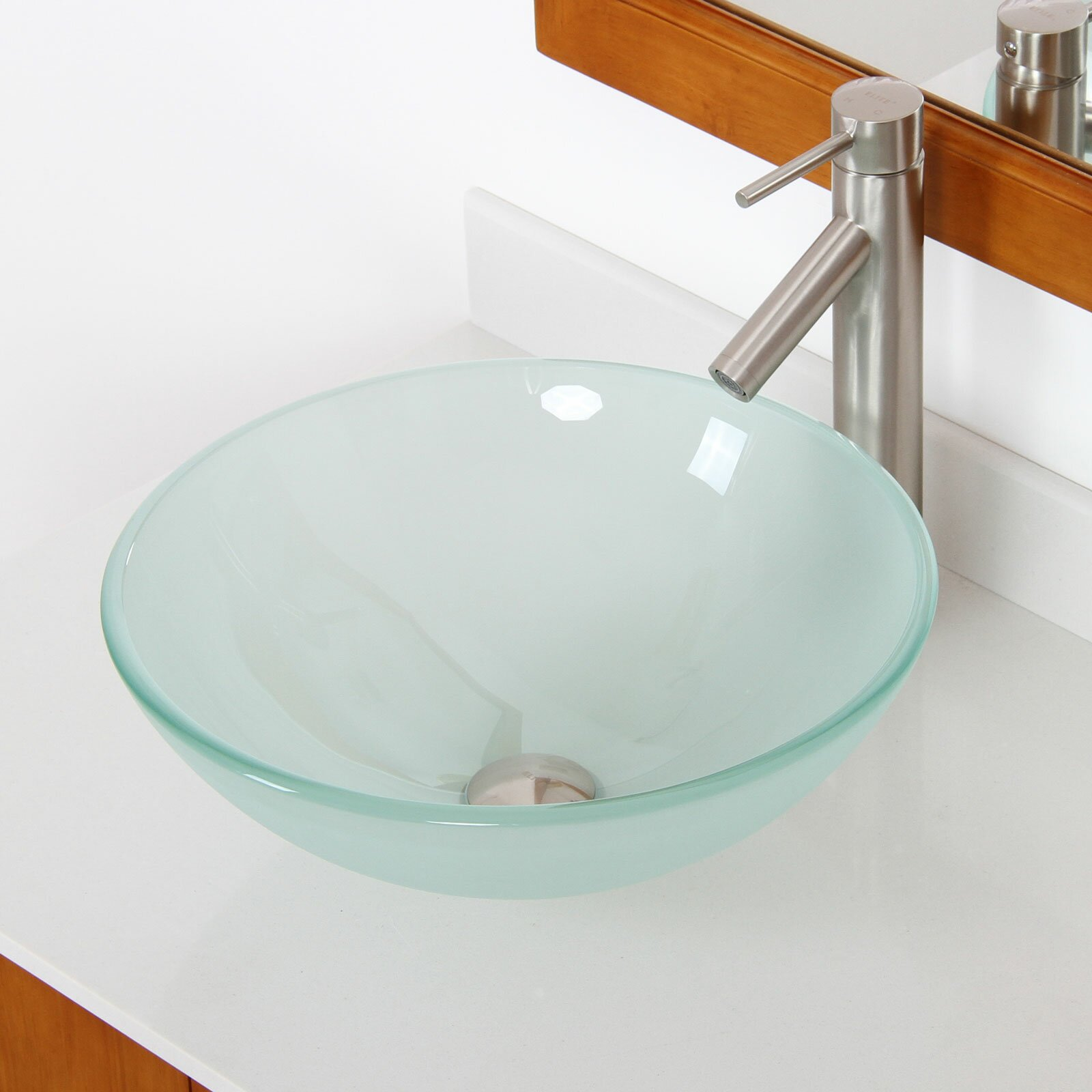 Round Bathroom Sink Bowls : ... Tempered Glass Round Bowl Vessel Bathroom Sink & Reviews Wayfair