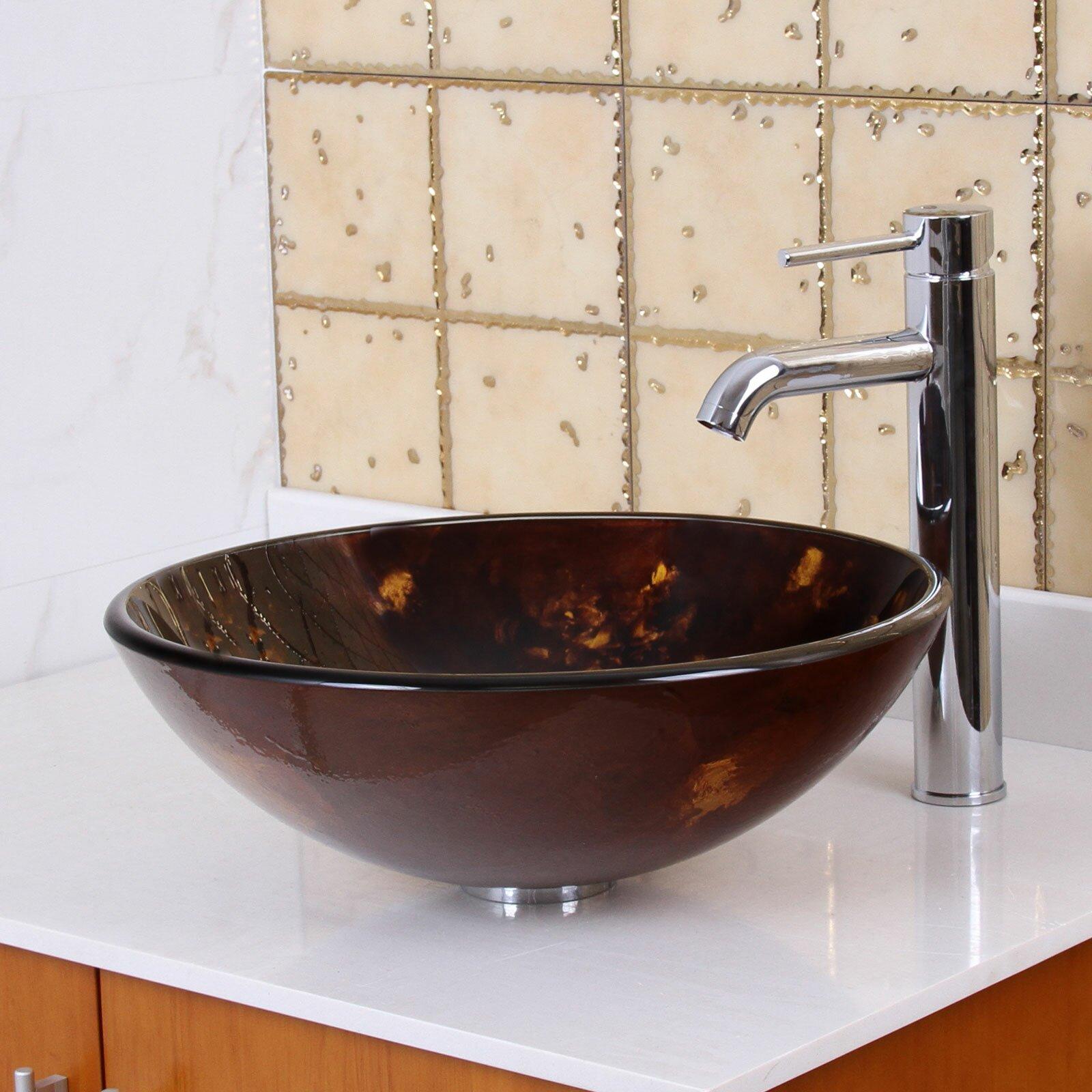 Elite Tempered Glass Round Bathroom Sink Reviews Wayfair