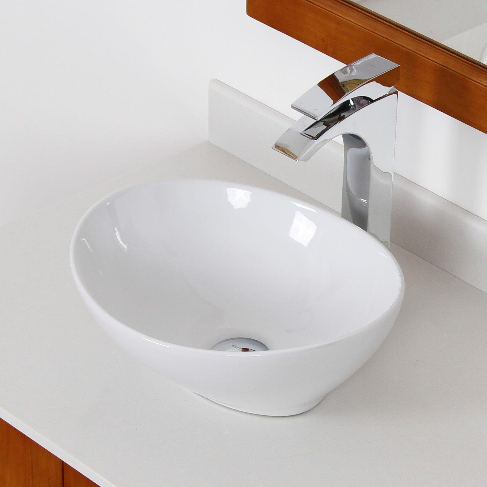 Elite ceramic boat shaped bathroom sink reviews wayfair for Boat ornaments for bathroom
