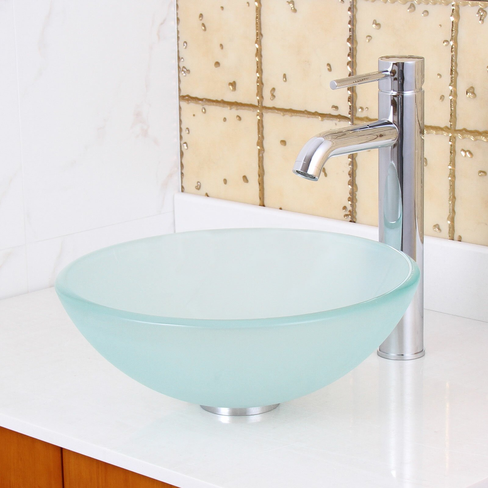Elite Double Layered Tempered Glass Round Bathroom Sink Reviews Wayfair