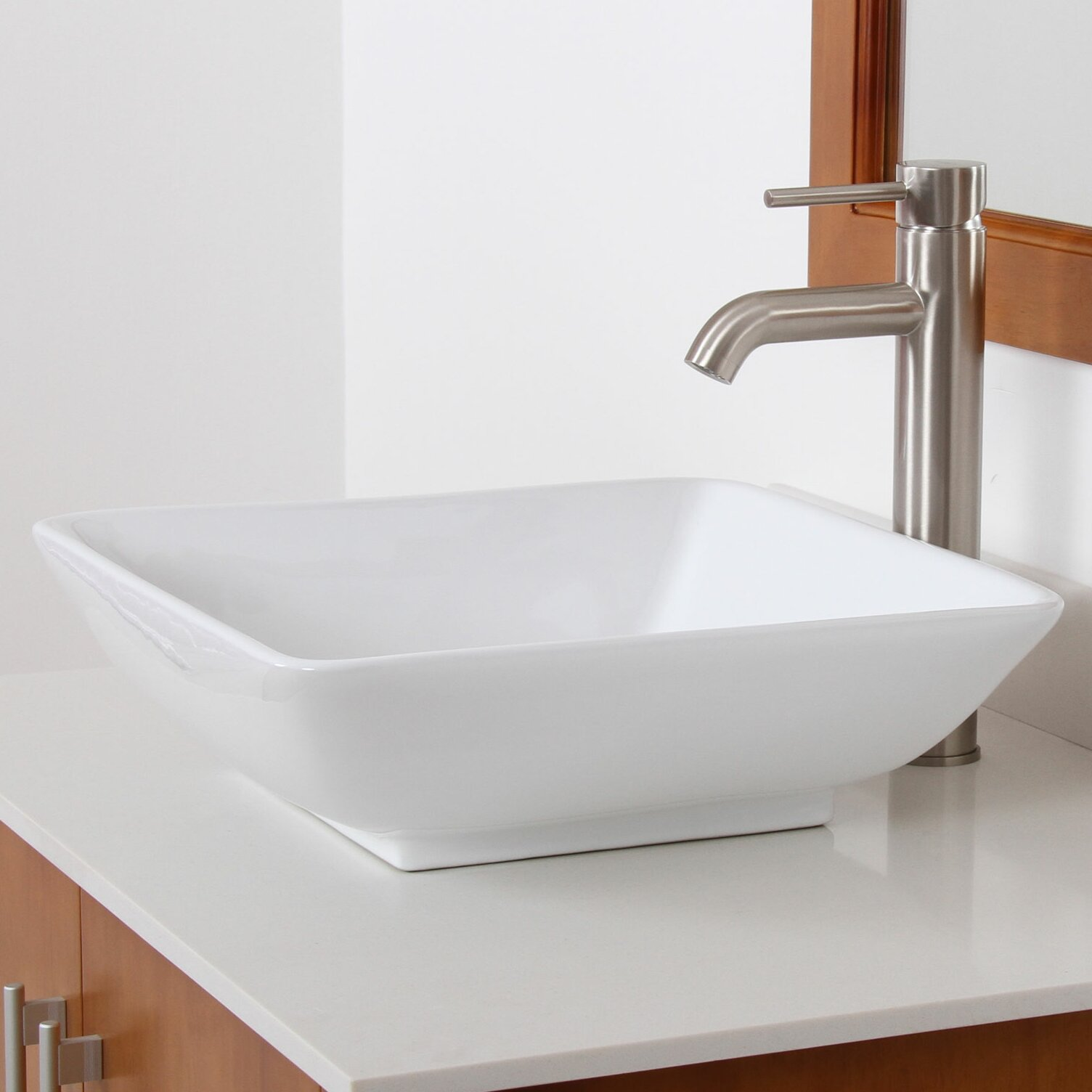 Elite Ceramic Square Bathroom Sink & Reviews Wayfair