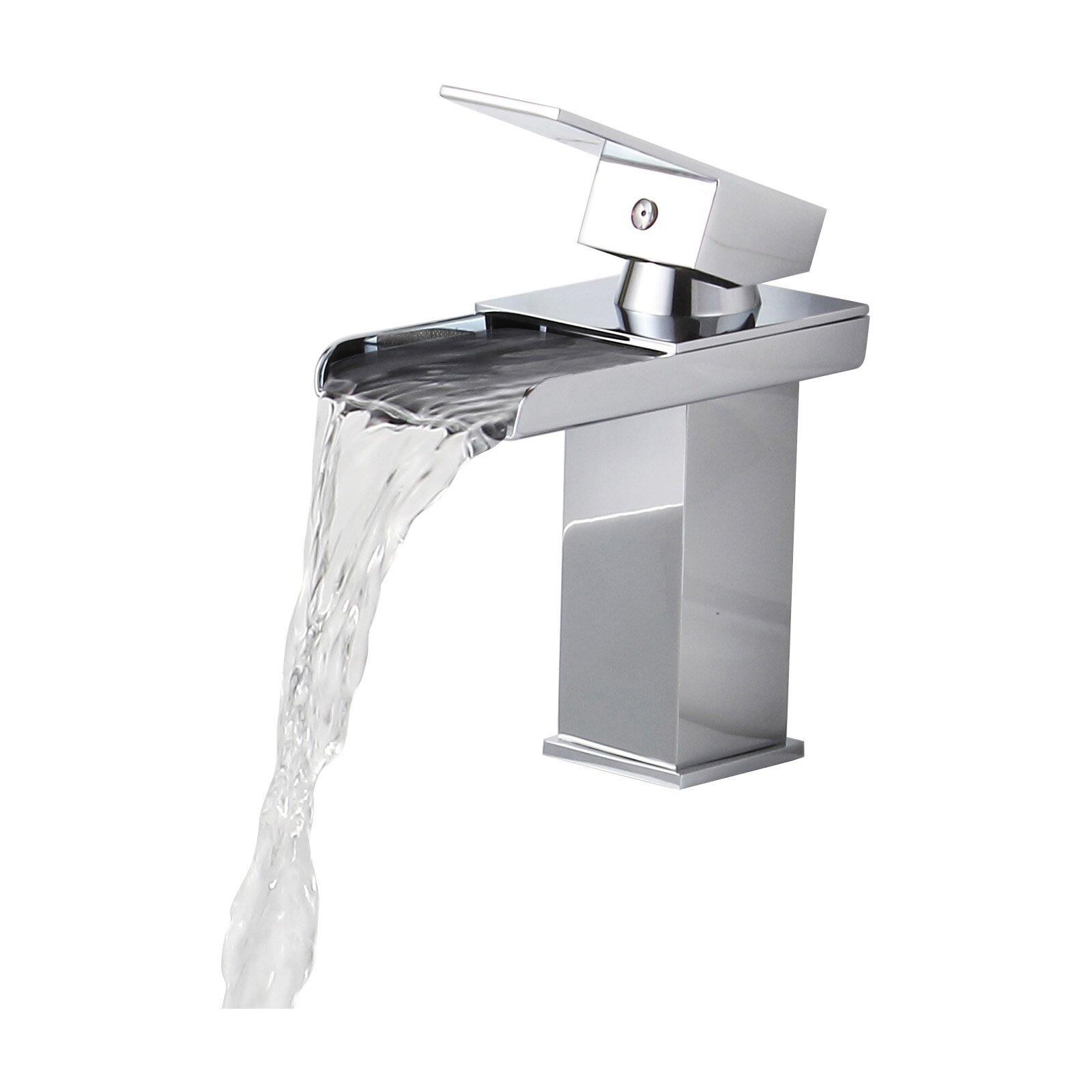 Elite Single Handle Bathroom Sink Waterfall Faucet