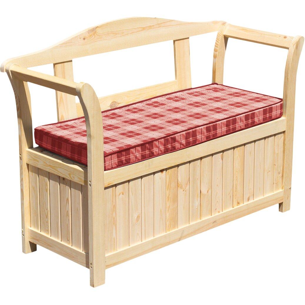 Gartenmobel Lounge Bequem :  design 2Sitzer Friesenbank mit Kissenbox und Sitzauflage  Wayfairde