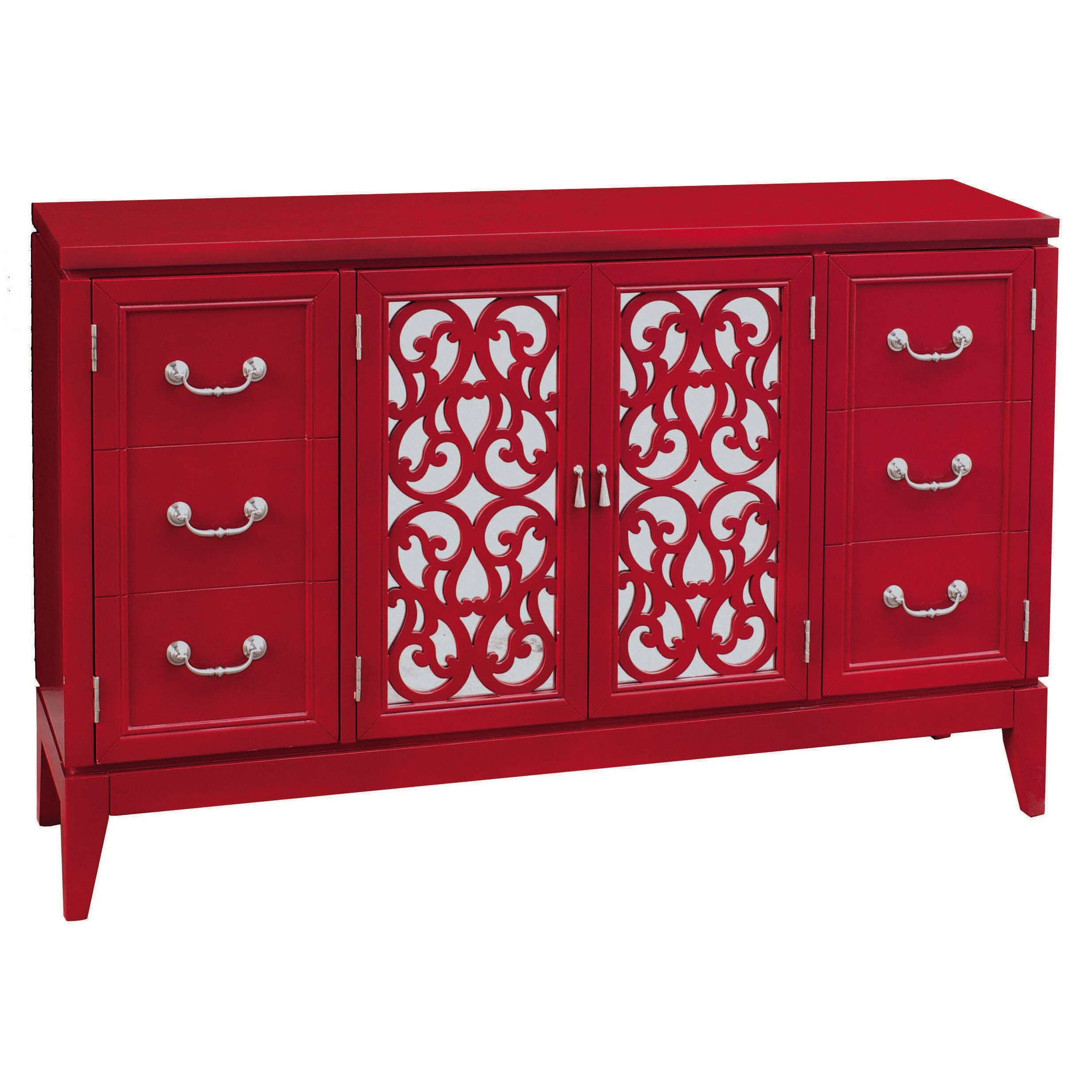 Red Futon Mattress Pulaski Console 4 Door Cabinet & Reviews | Wayfair