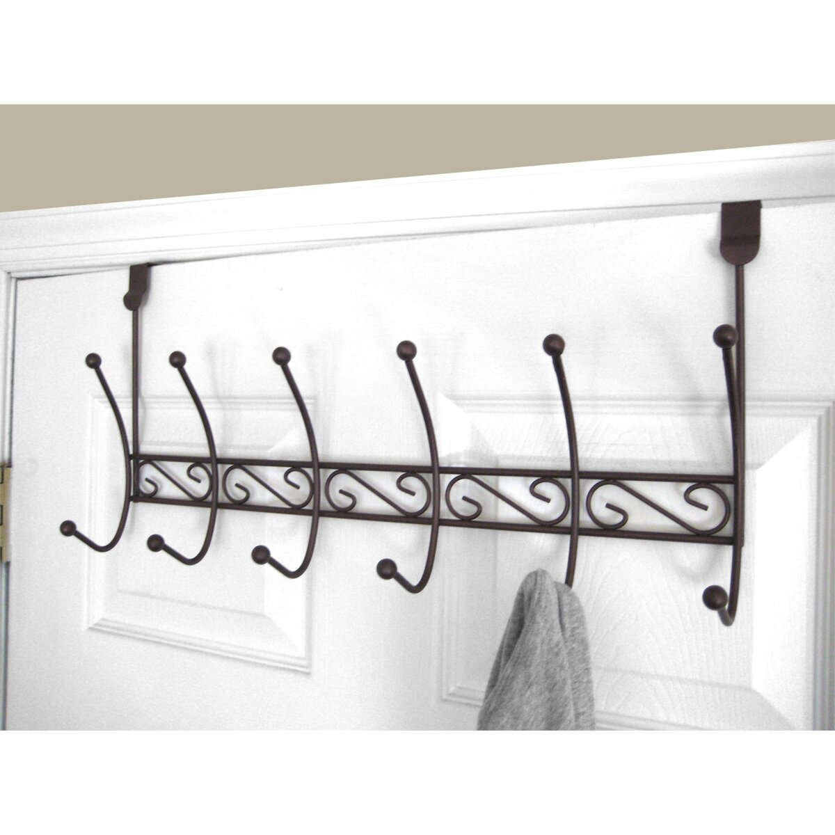 Home basics 6 hook over the door coat rack reviews wayfair for 12 hook over the door coat rack
