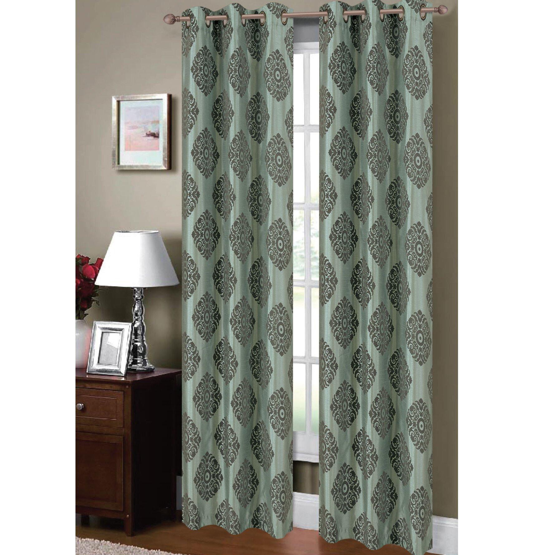 Window Elements Suzani Flocked Faux Silk Grommet Curtain Panels Reviews Wayfair