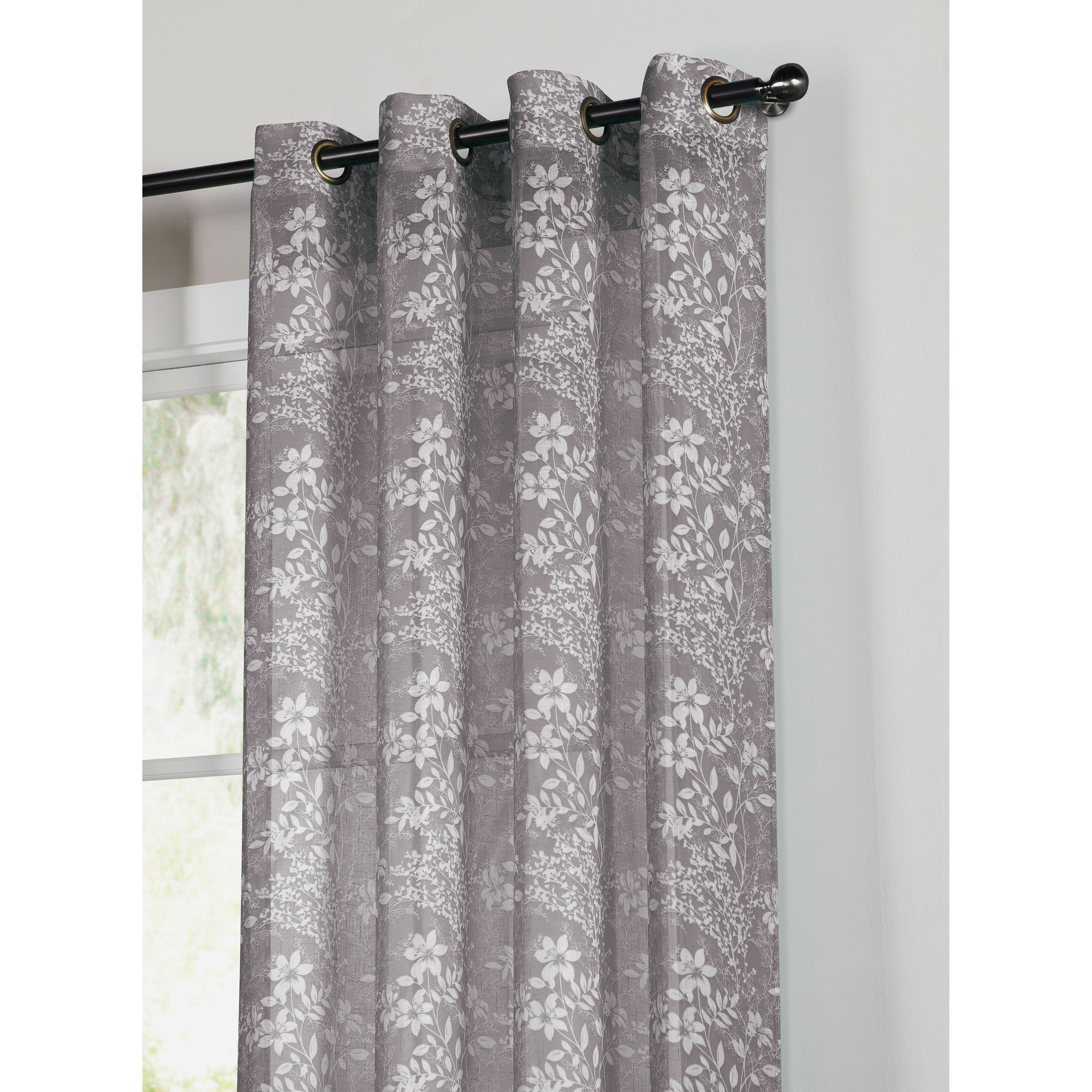 window elements garden faux linen semi sheer extra wide grommet single curtain panel reviews. Black Bedroom Furniture Sets. Home Design Ideas
