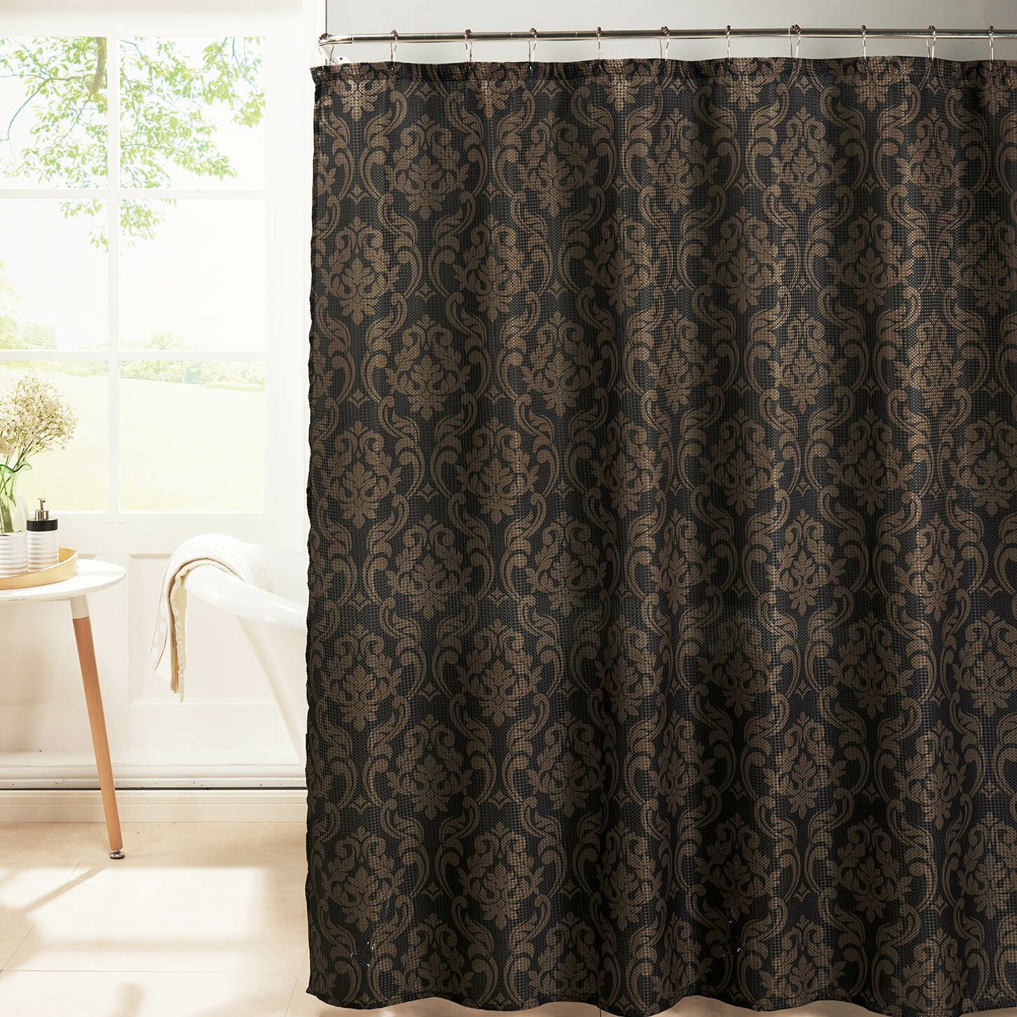 bath studio diamond weave textured shower curtain set