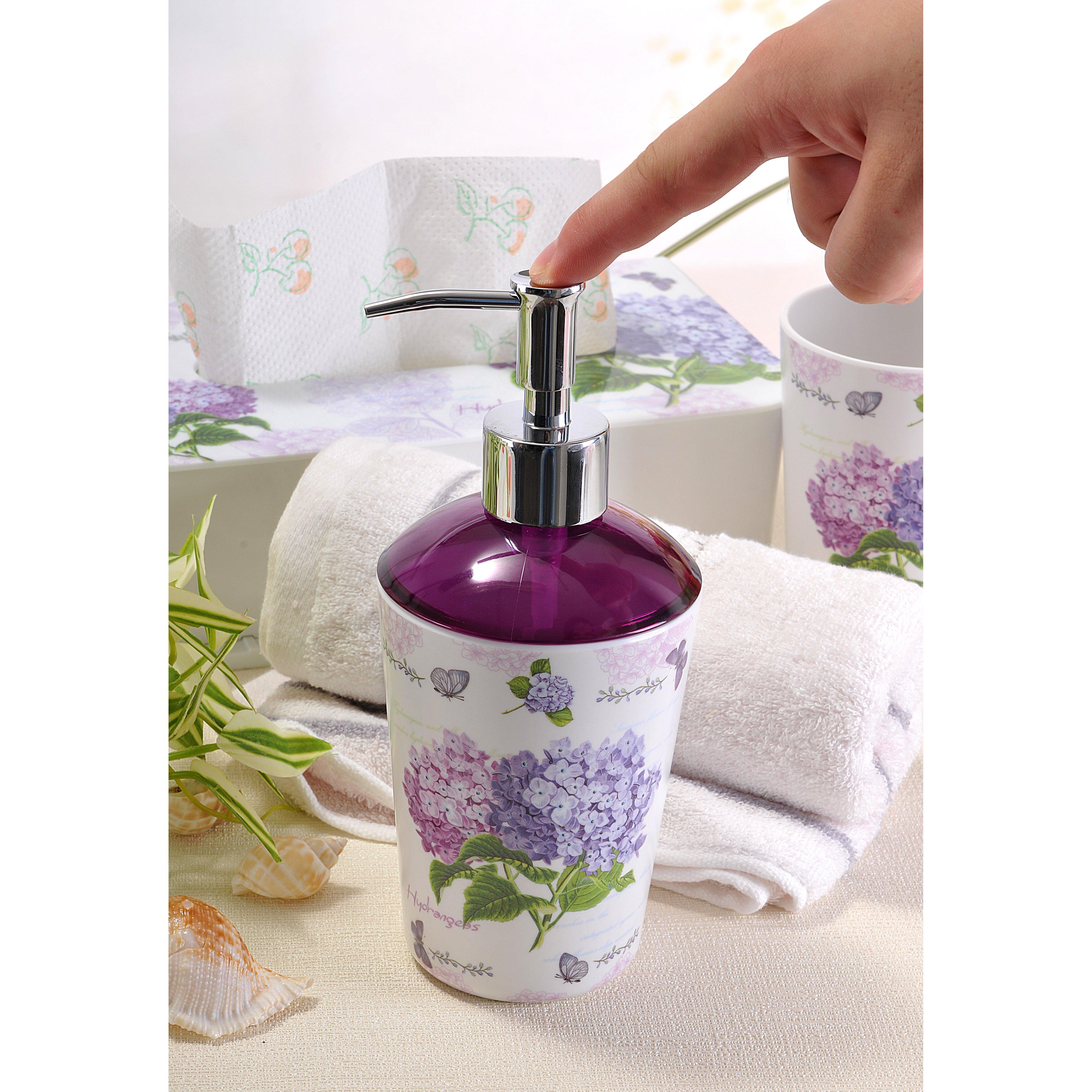 Shall housewares 4 piece hydrangea bathroom set reviews for Bathroom 4 piece set