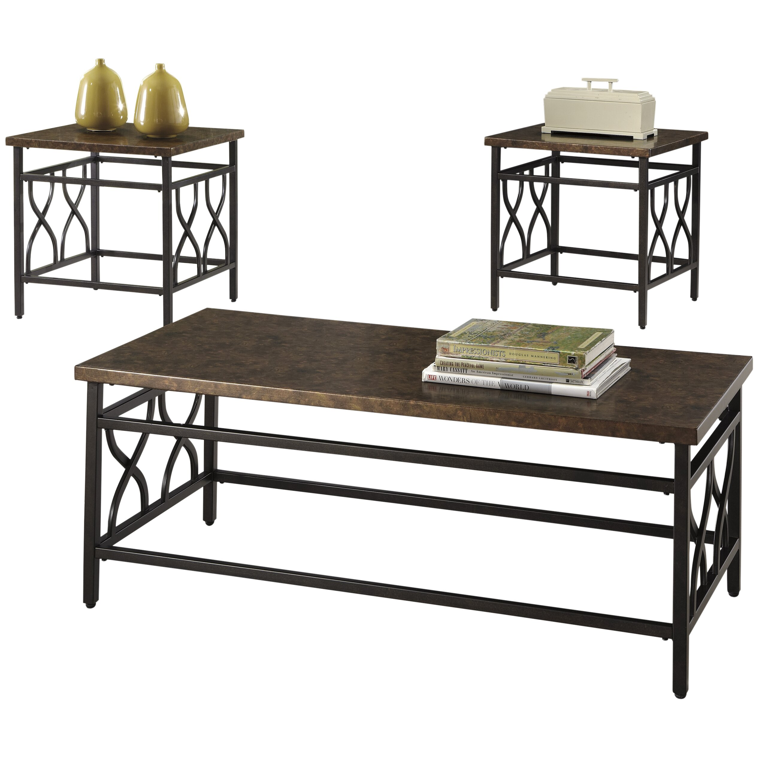 Three Posts Hartwick 3 Piece Coffee Table Set Reviews Wayfair