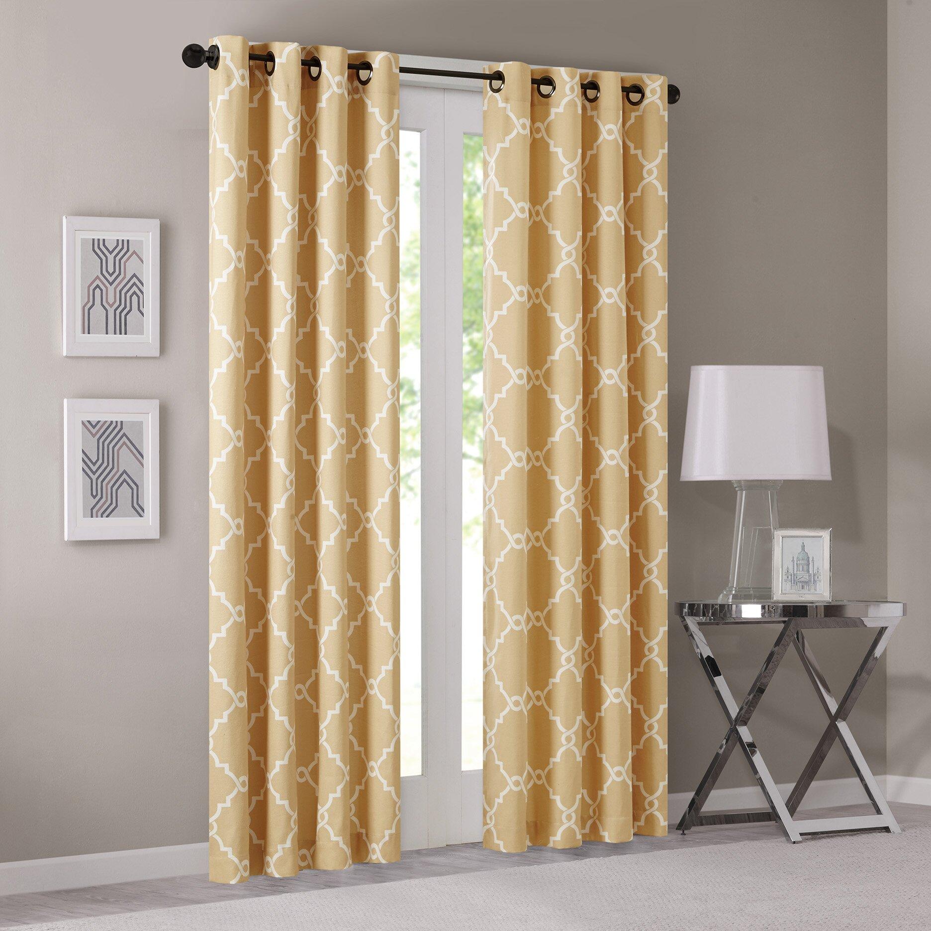 Three posts winnett curtain single panel reviews wayfair - Grey and yellow living room curtains ...