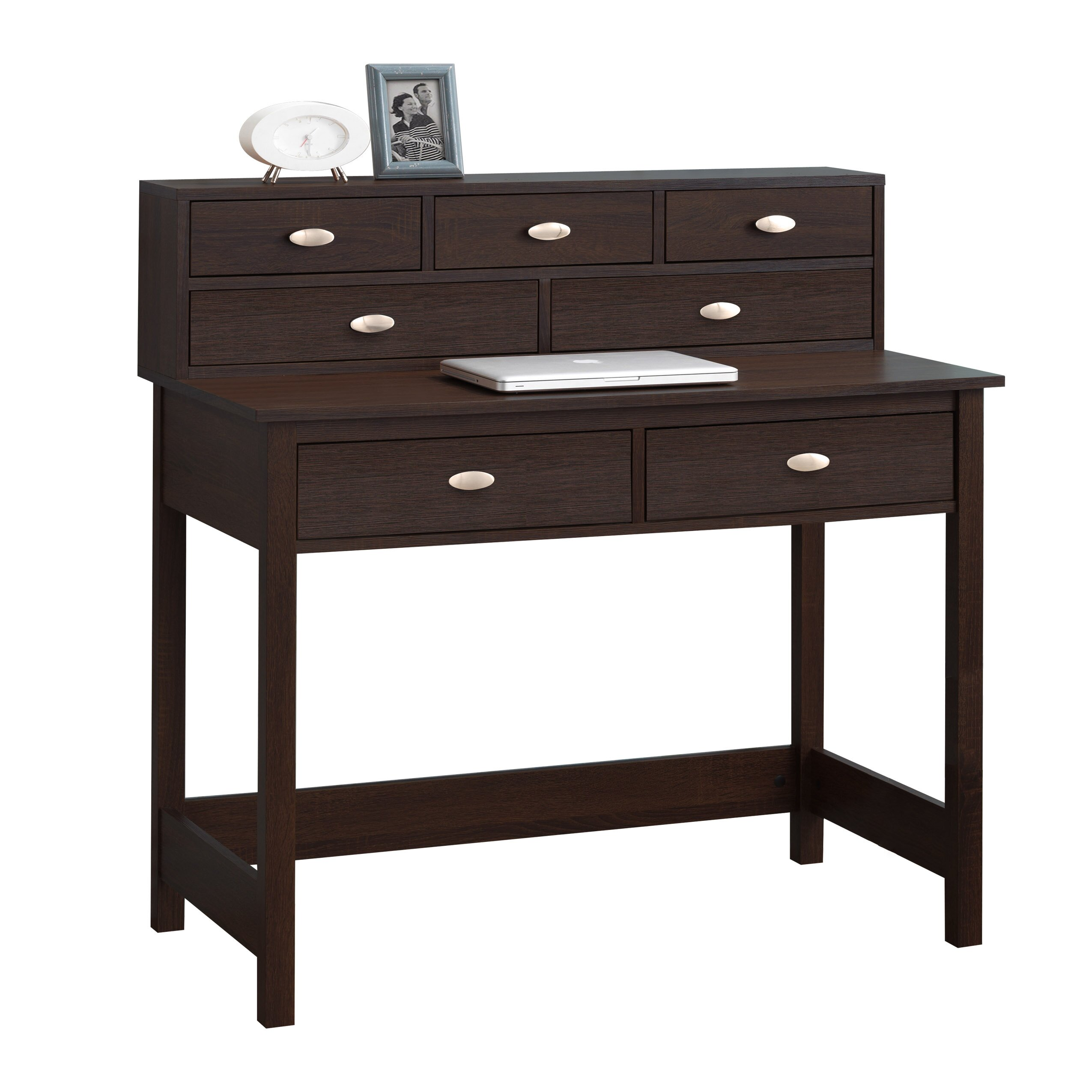 three posts holbrook writing desk with 7 drawers reviews wayfair. Black Bedroom Furniture Sets. Home Design Ideas