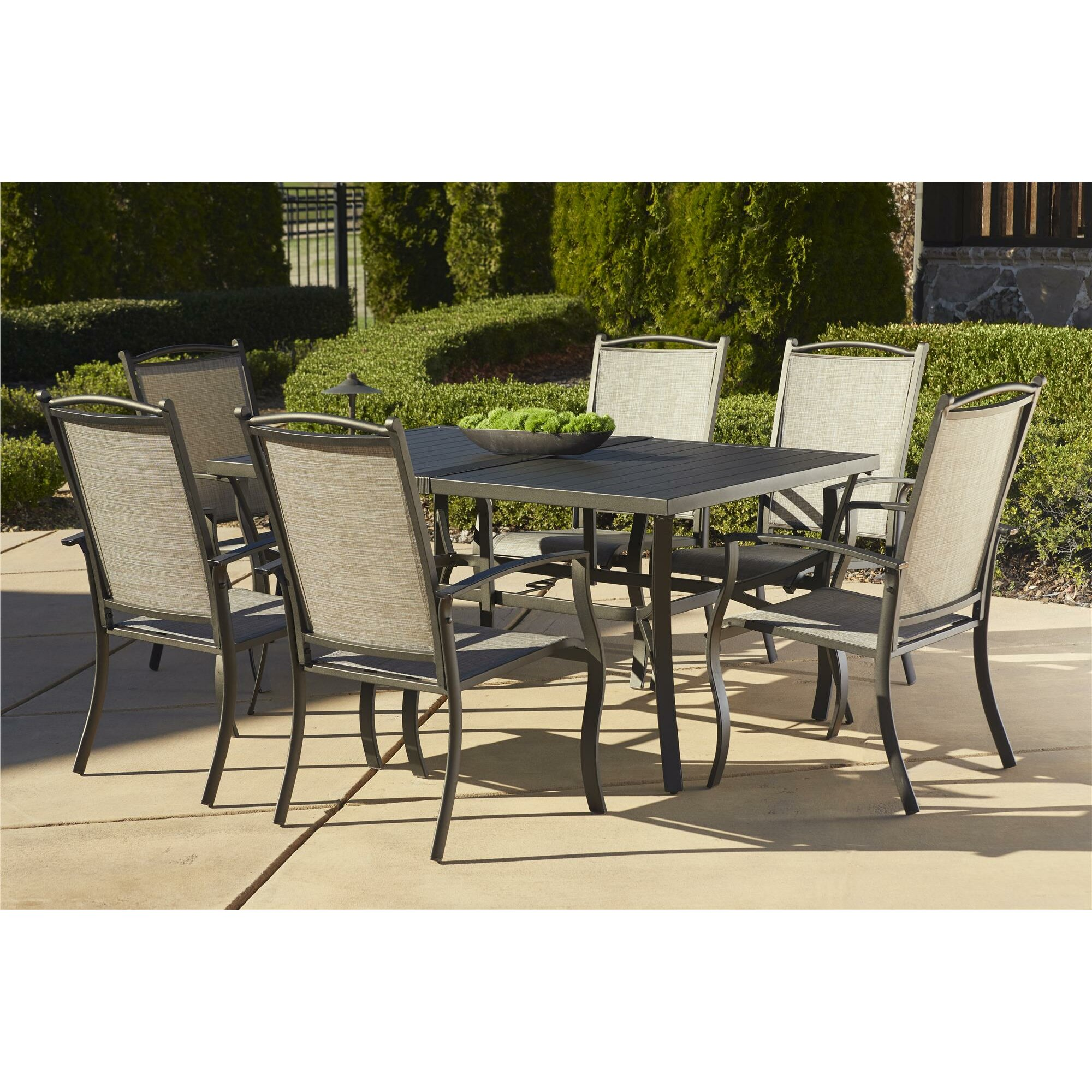 Three posts pavilion 7 piece dining set reviews wayfair for Outdoor patio couch set