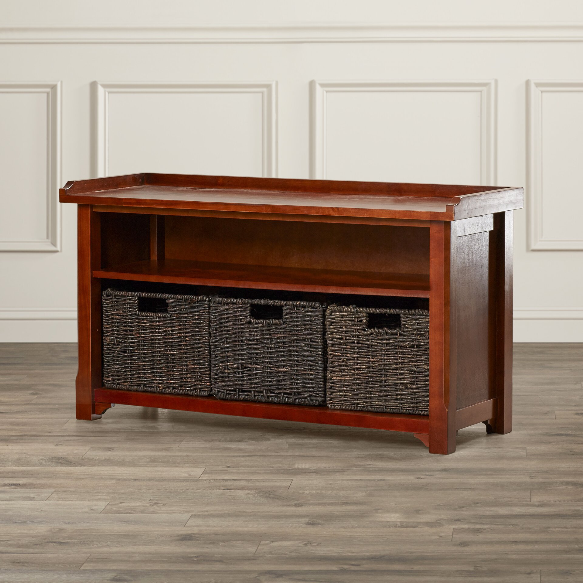 Foyer Mudroom Reviews : Three posts champlain piece wood storage entryway bench