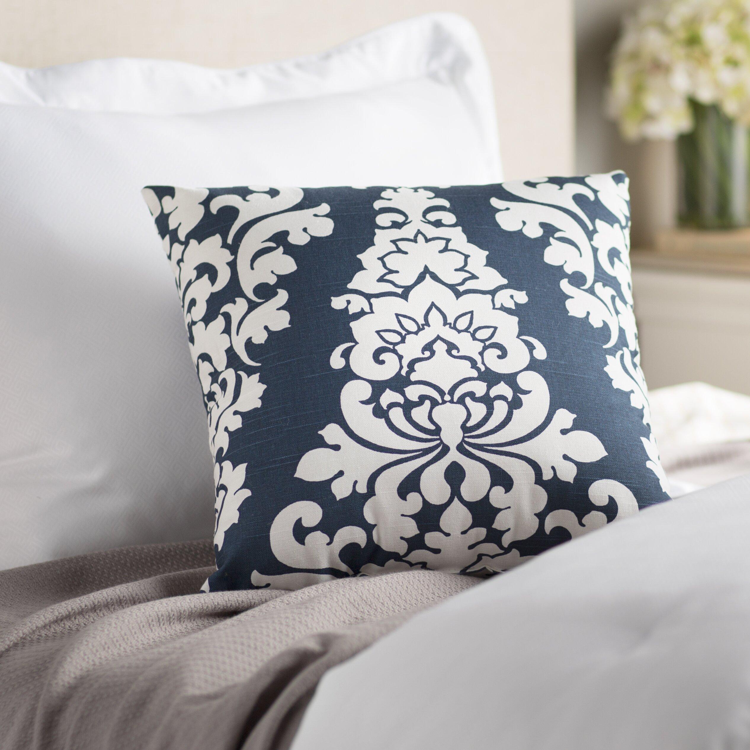 Throw Pillows Damask : Three Posts Palmdale Indoor/Outdoor Damask Cotton Throw Pillow & Reviews Wayfair