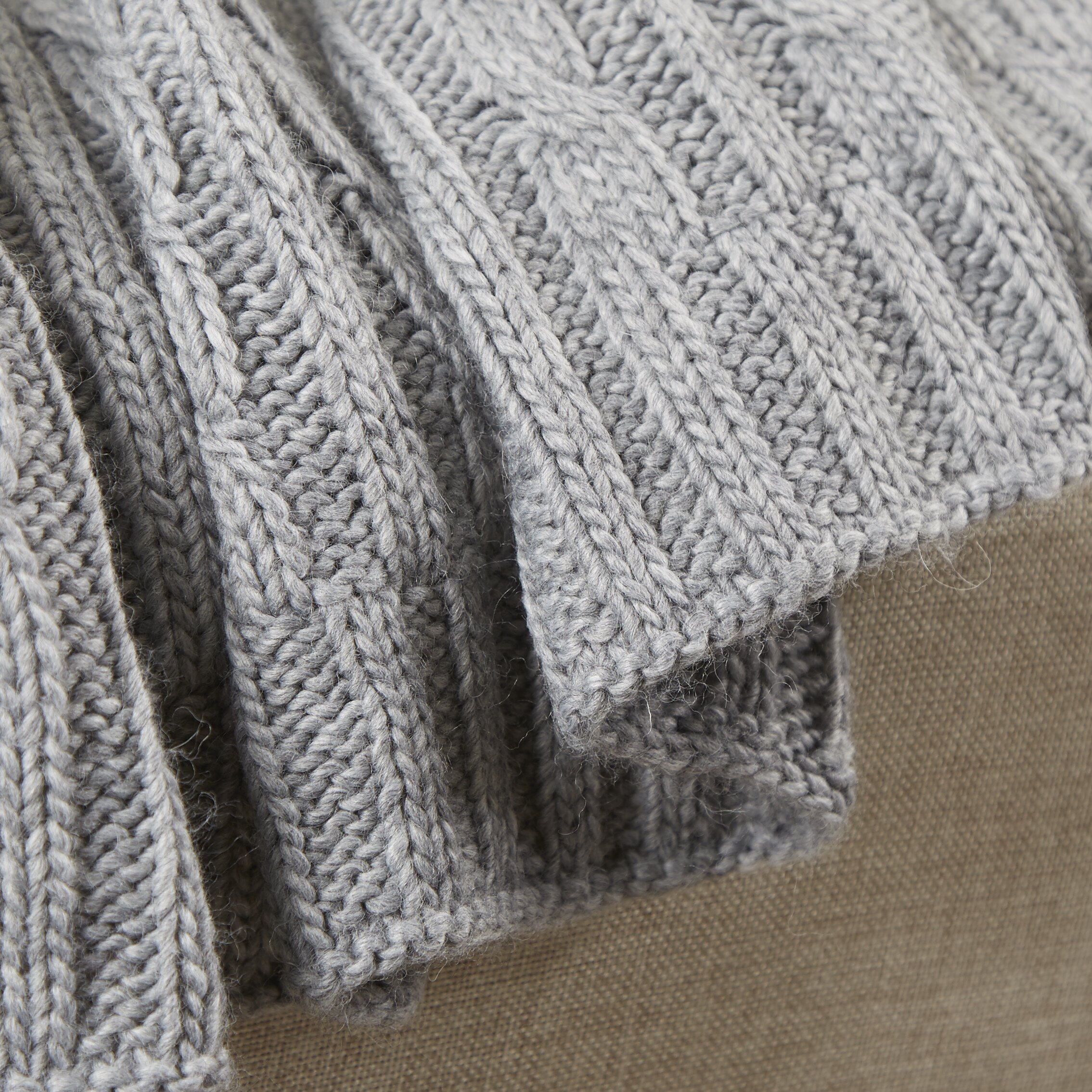 Three Posts Deluxe Cable Knit Throw Blanket Reviews