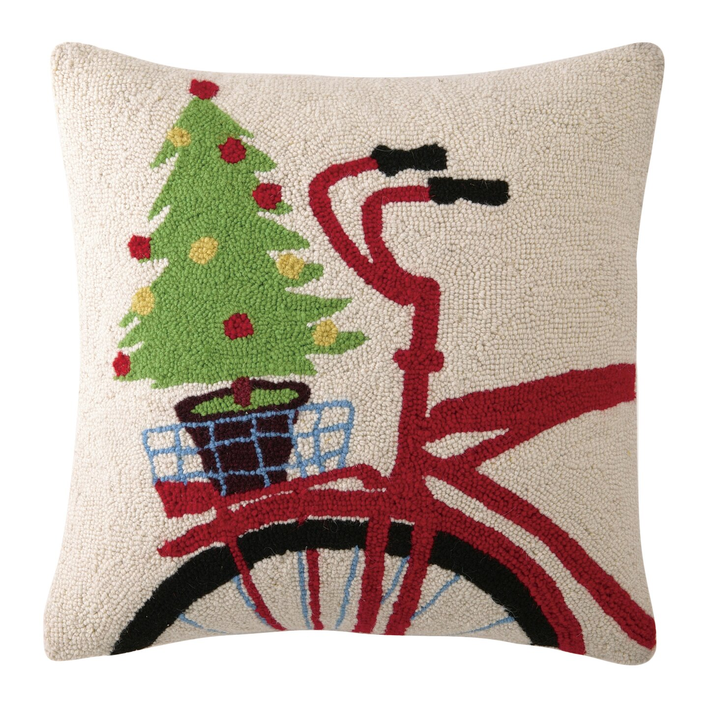 Three Posts Christmas Tree on Bike Hook Wool Throw Pillow & Reviews Wayfair