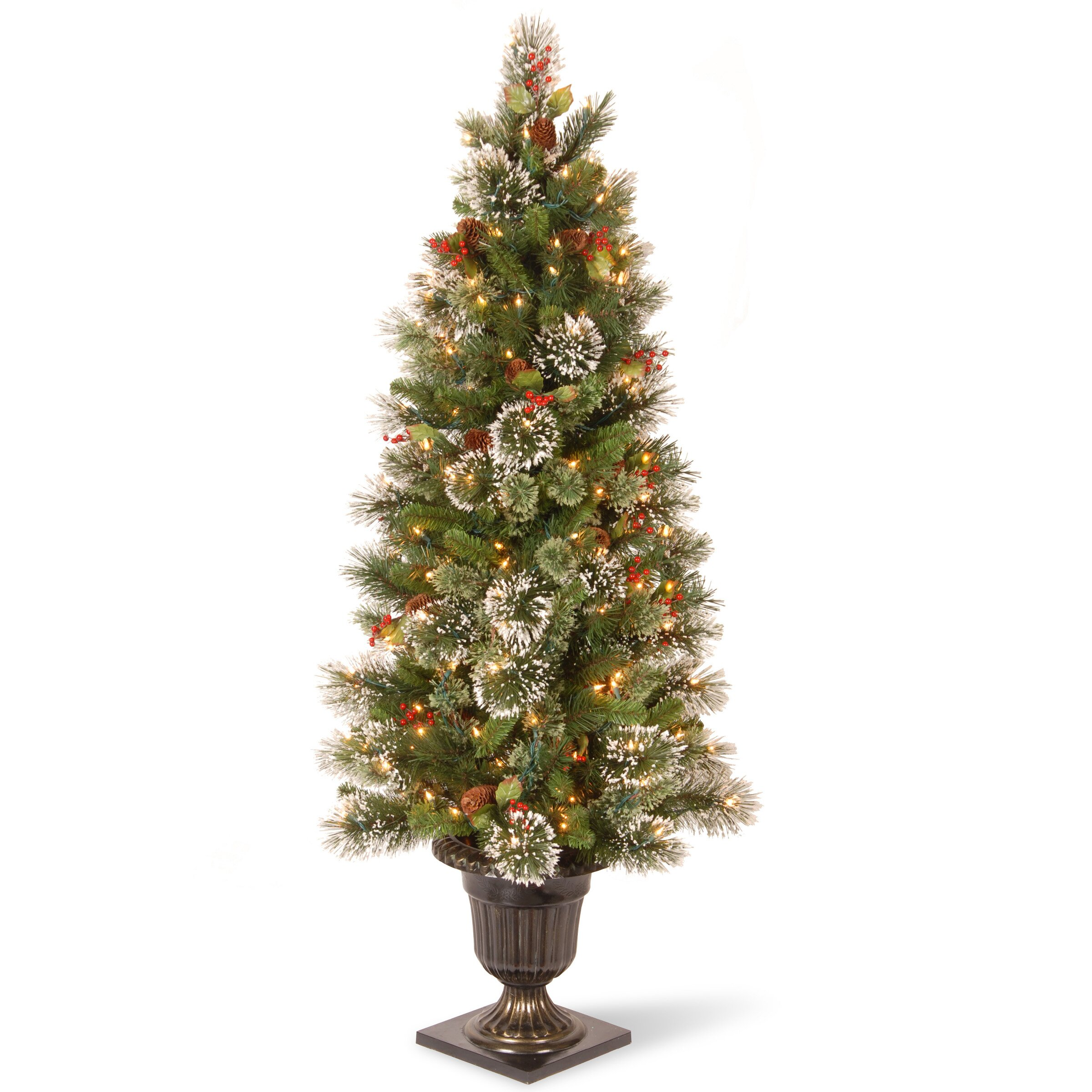 Three posts entrance green artificial christmas tree
