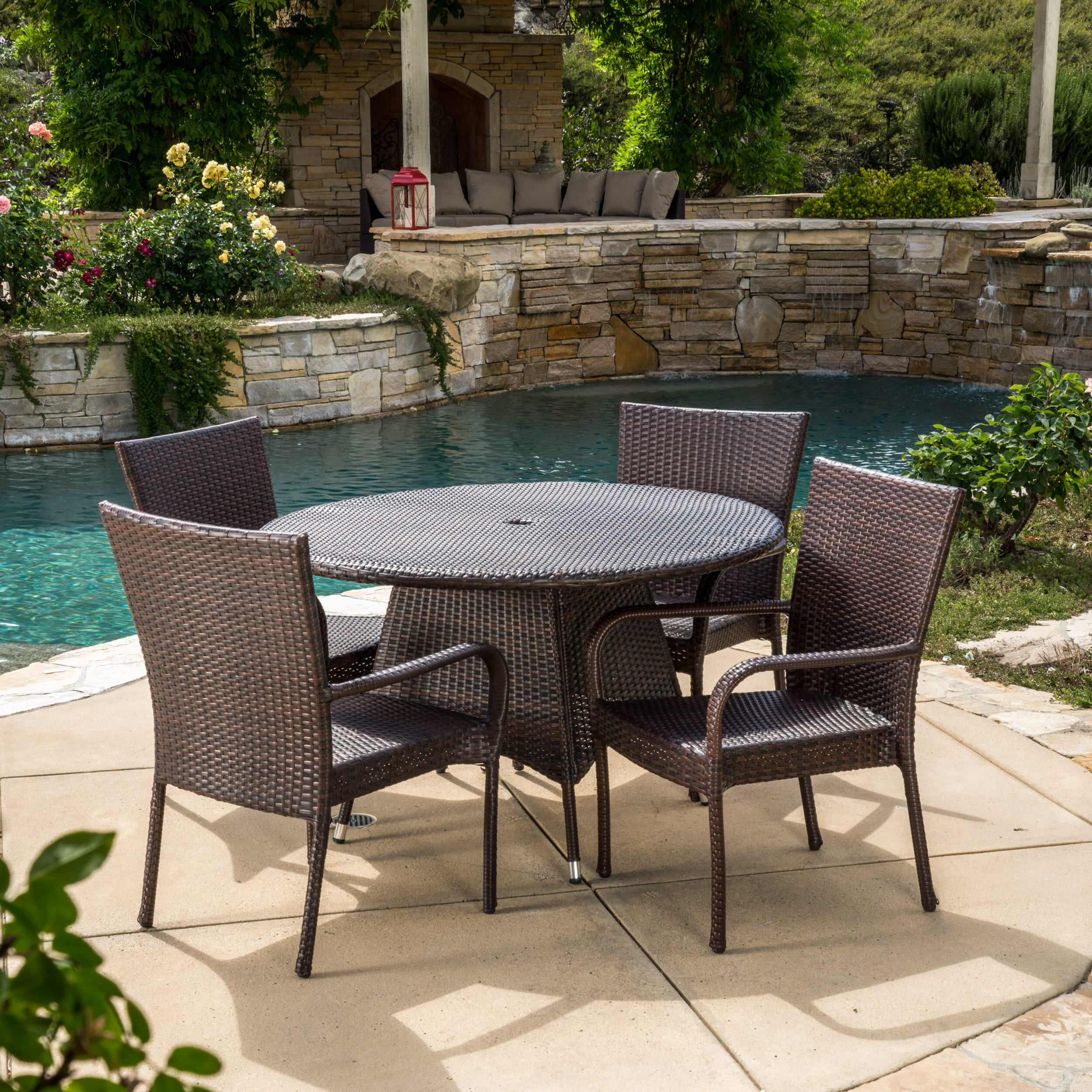 Three posts bexton 5 piece dining set reviews wayfair for Outdoor patio dining sets