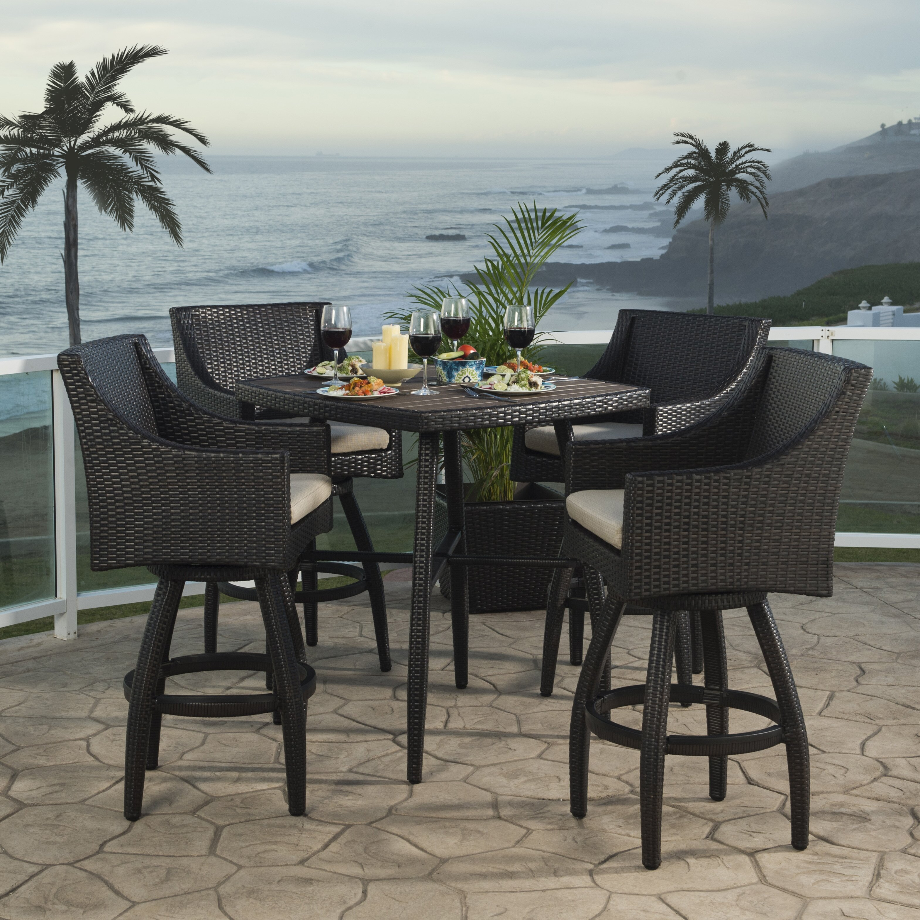 Patio Furniture Near Northridge Ca: Three Posts Northridge 5 Piece Bar Set