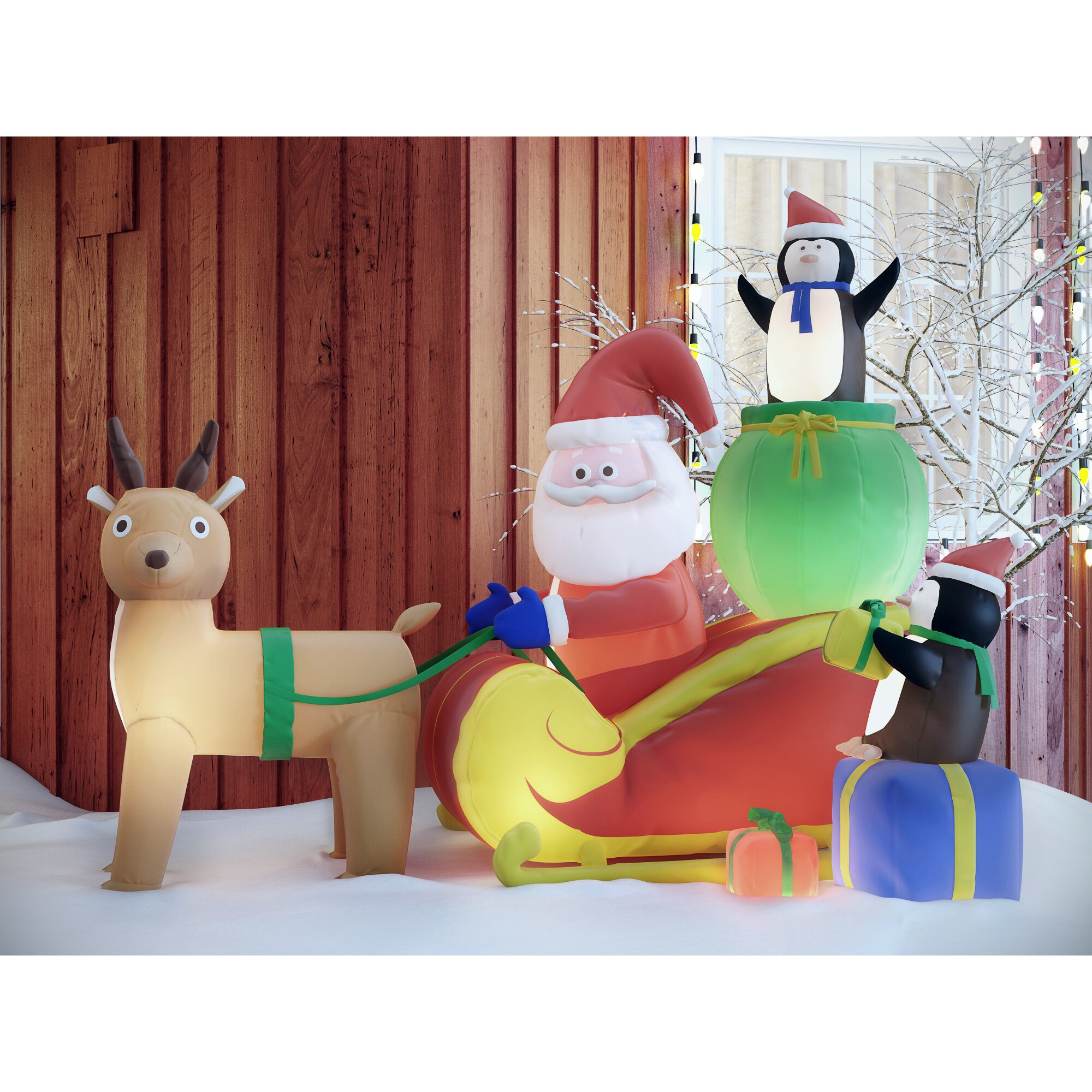 8 Airblown Inflatable Santa Penguin Coffee Shop Igloo: Three Posts Christmas Inflatable Santa With Reindeer