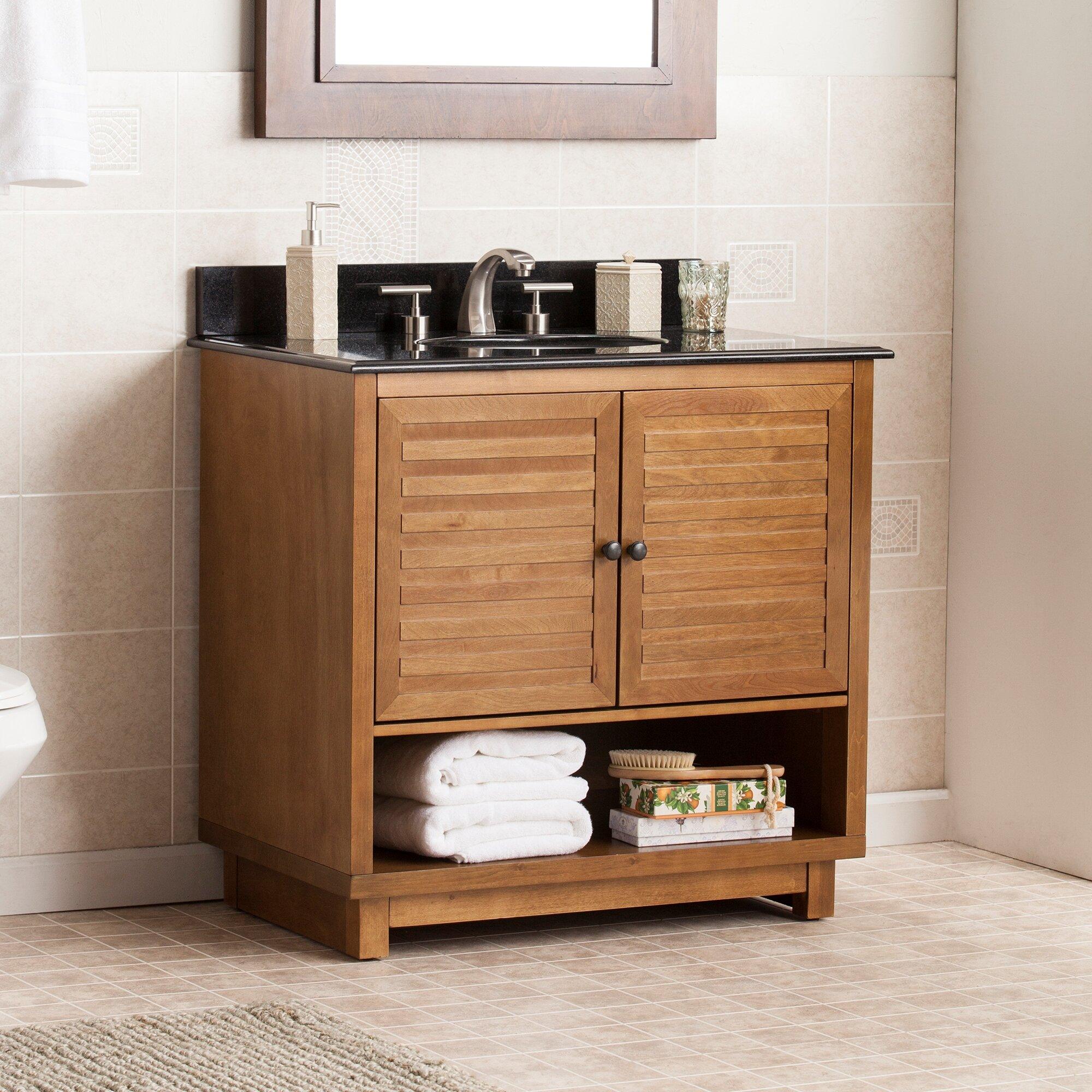 "Three Posts Worthen 34 25"" Single Bathroom Vanity Set with Granite Top"