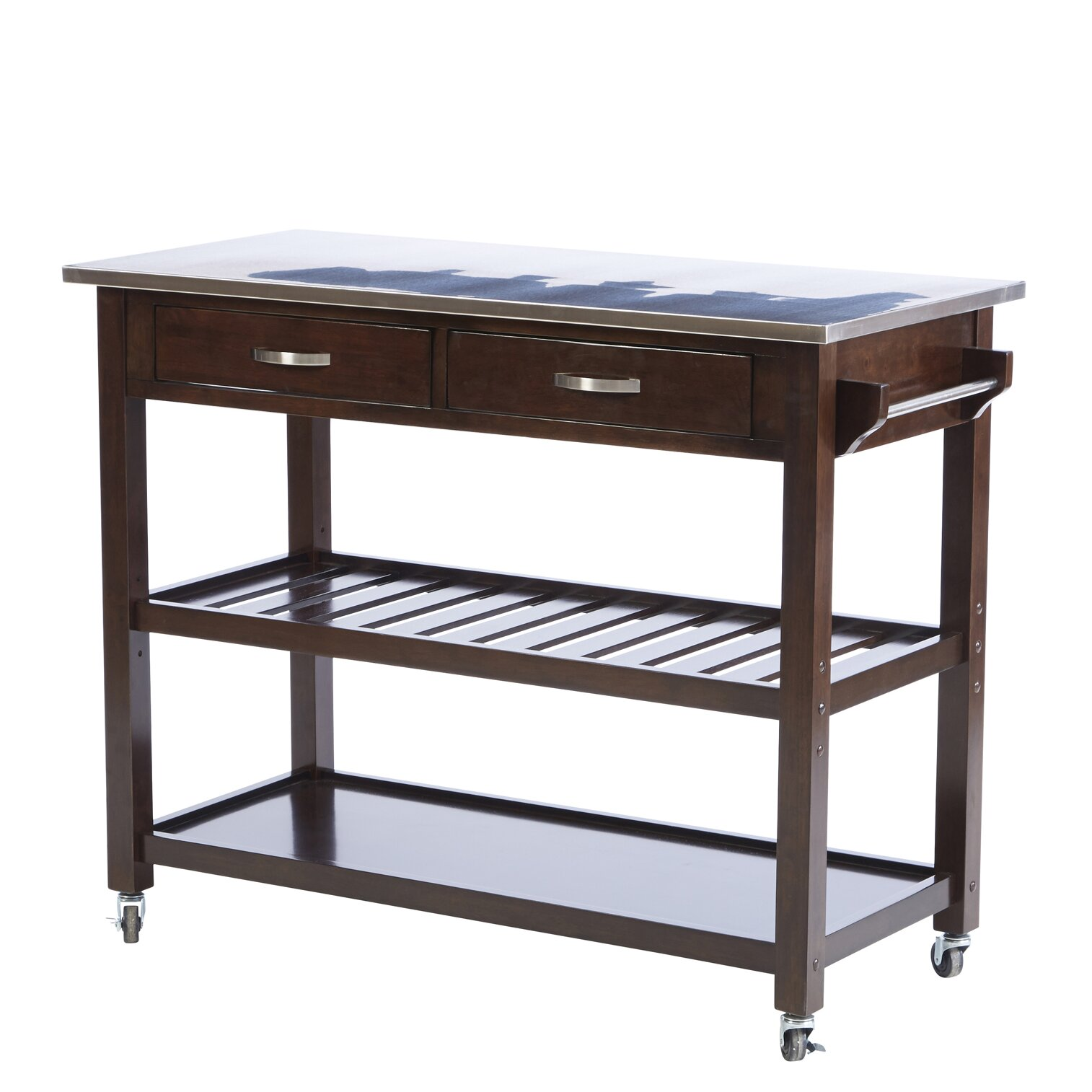 Three Posts Byrnedale Kitchen Island With Stainless Steel Top Reviews Wayfair