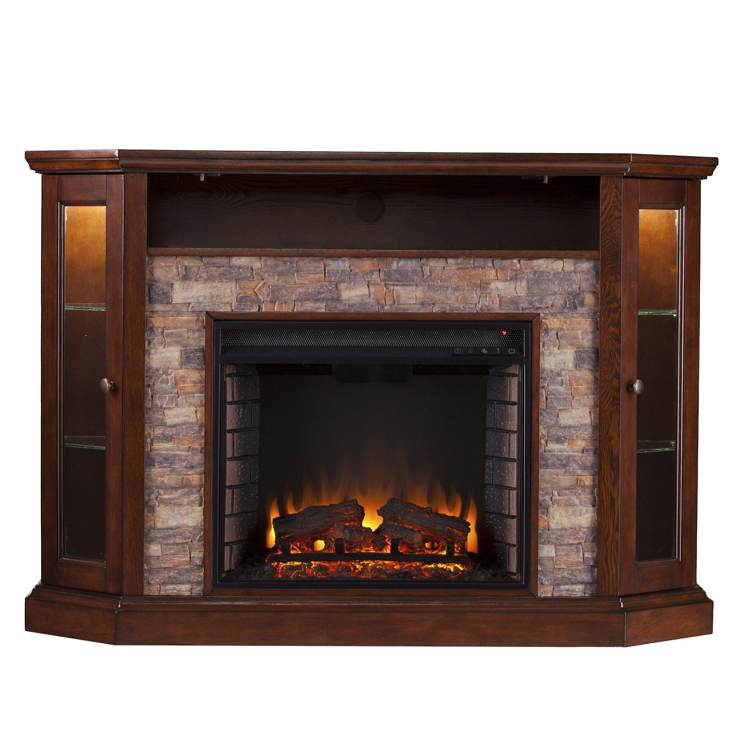 Electric fireplace center brick electric fireplace for Wayfair gel fireplace