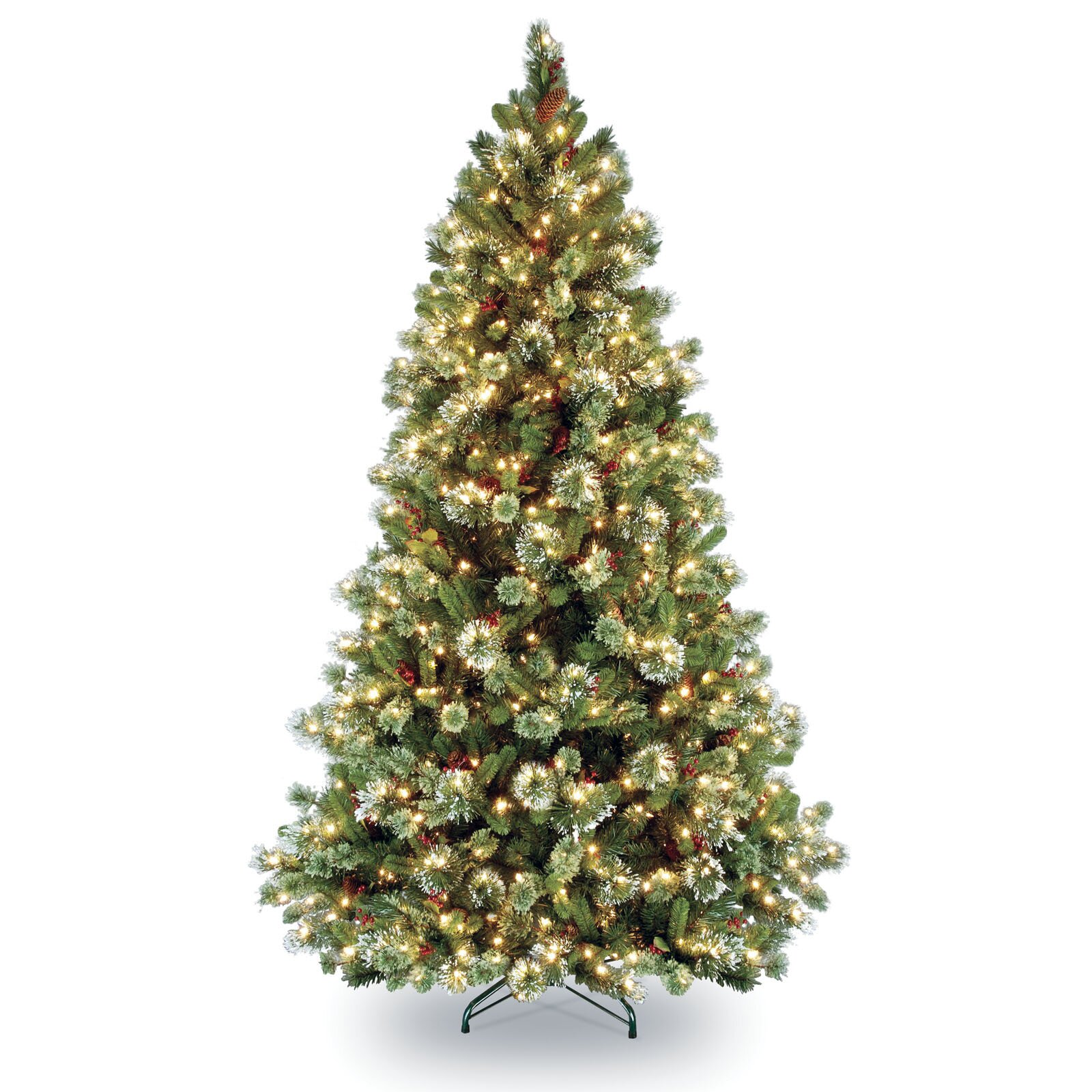 Three posts pine pre lit artificial christmas tree