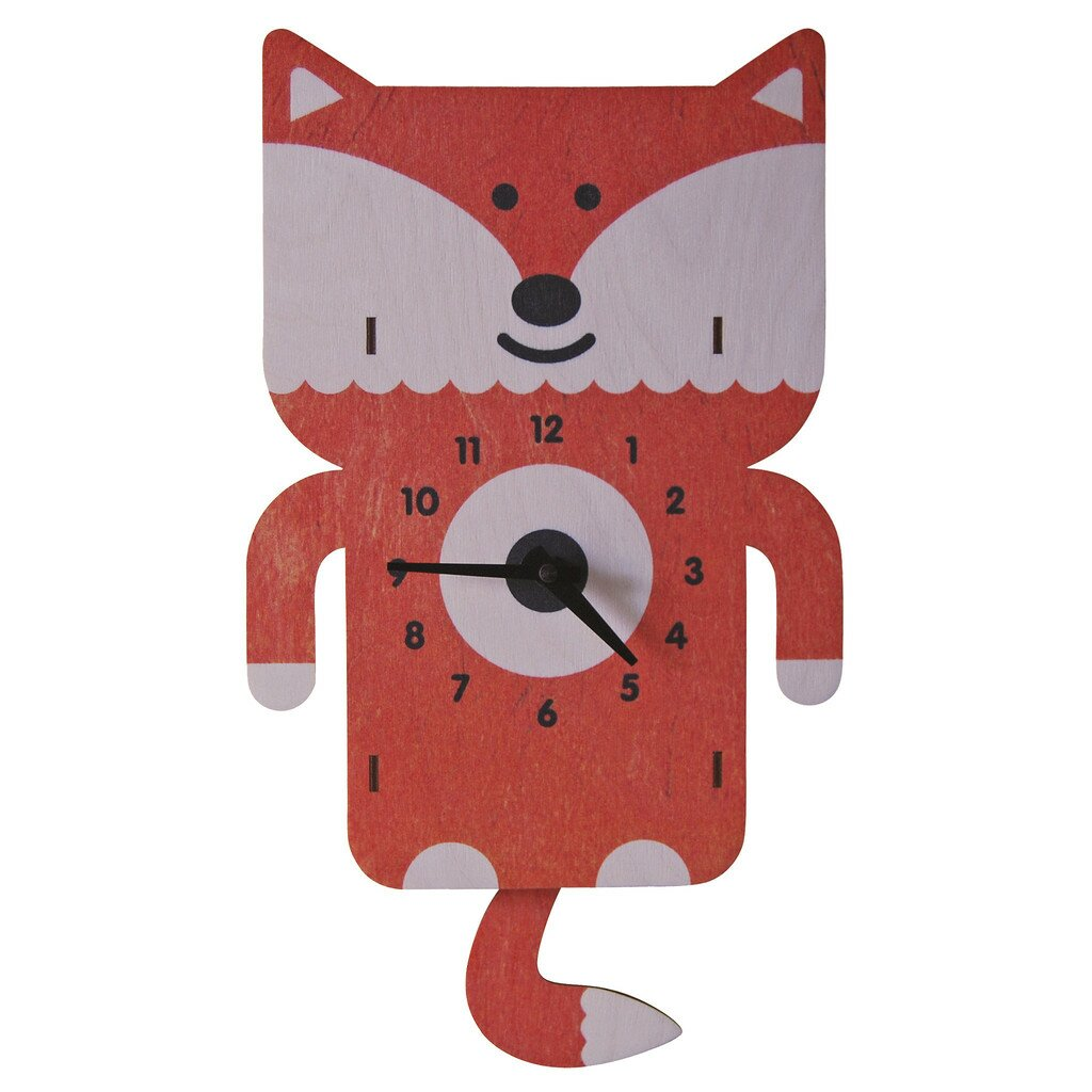 modern moose fox pendulum wall clock reviews wayfair. Black Bedroom Furniture Sets. Home Design Ideas