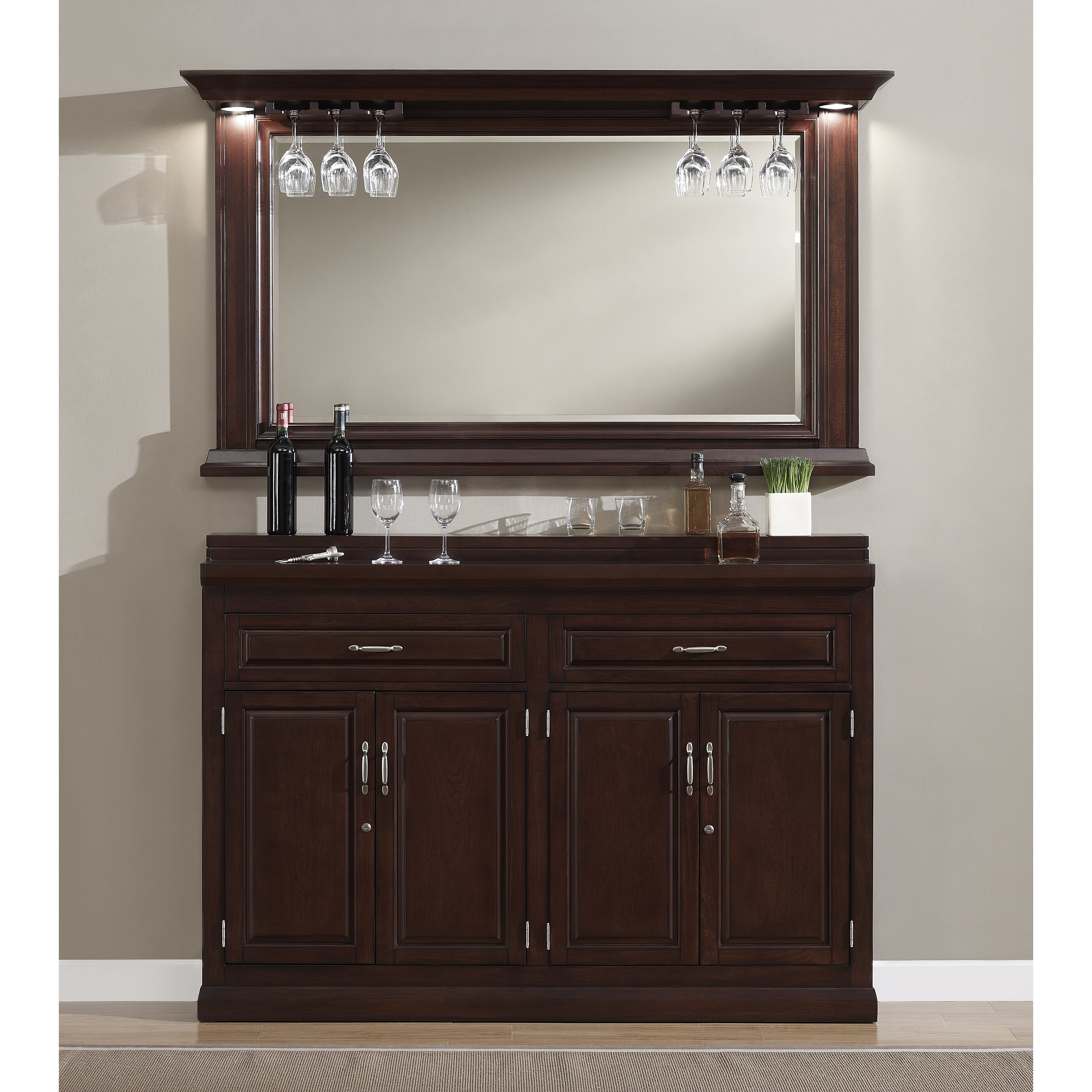 American Heritage Ricardo Bar Cabinet With Wine Storage