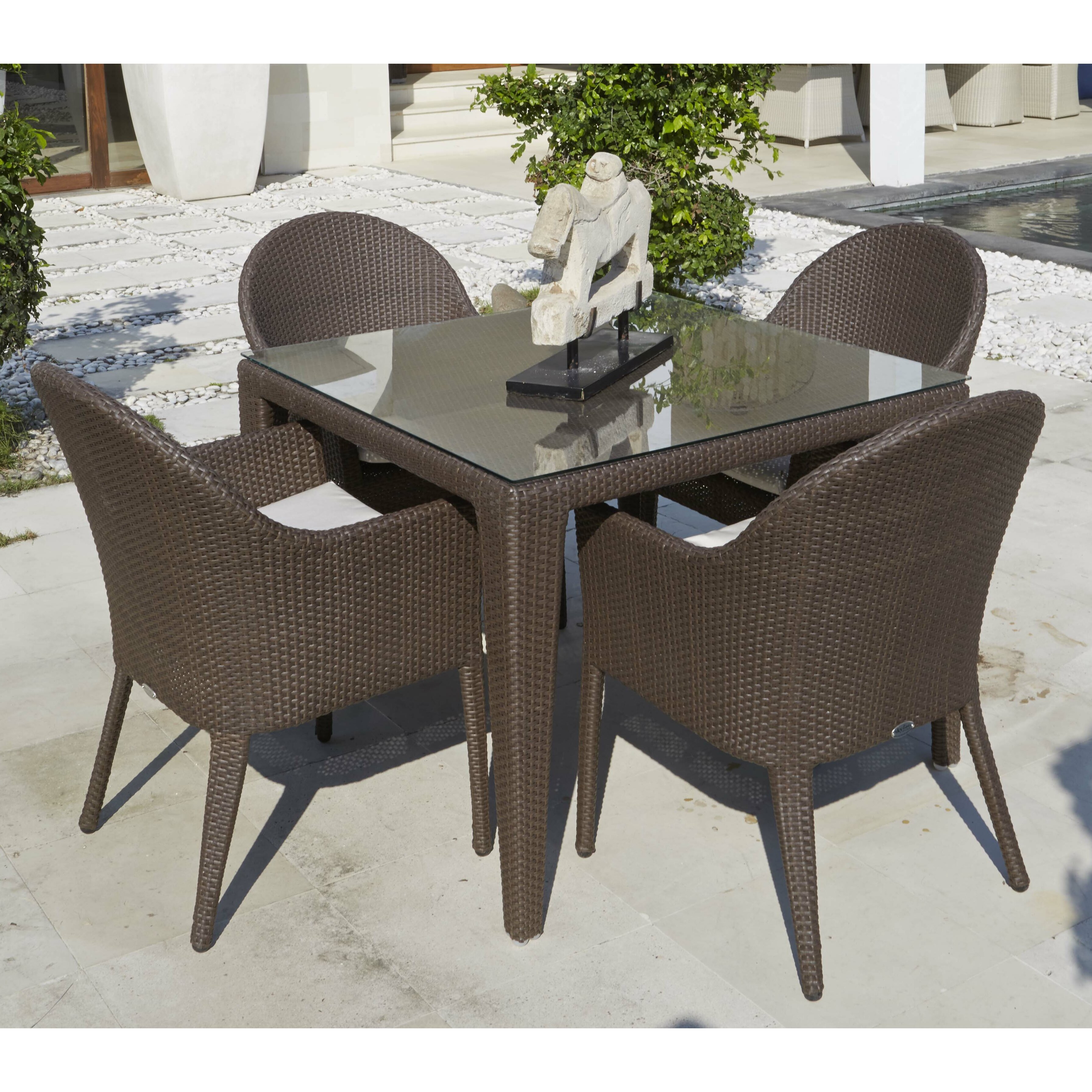 Hospitality rattan kenya piece dining set with cushions