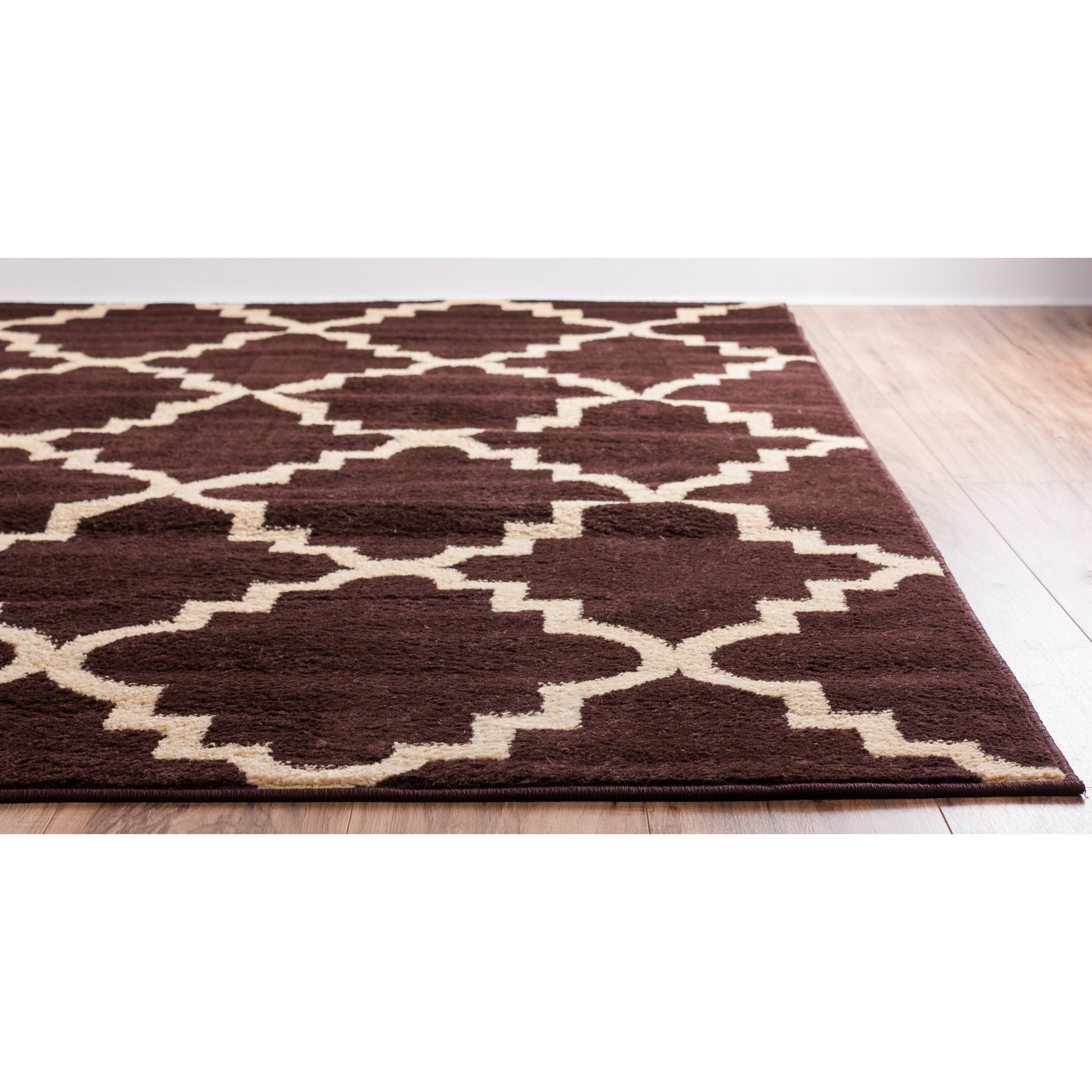 Well woven royal court 3 piece brown area rug set for Two rugs in one room